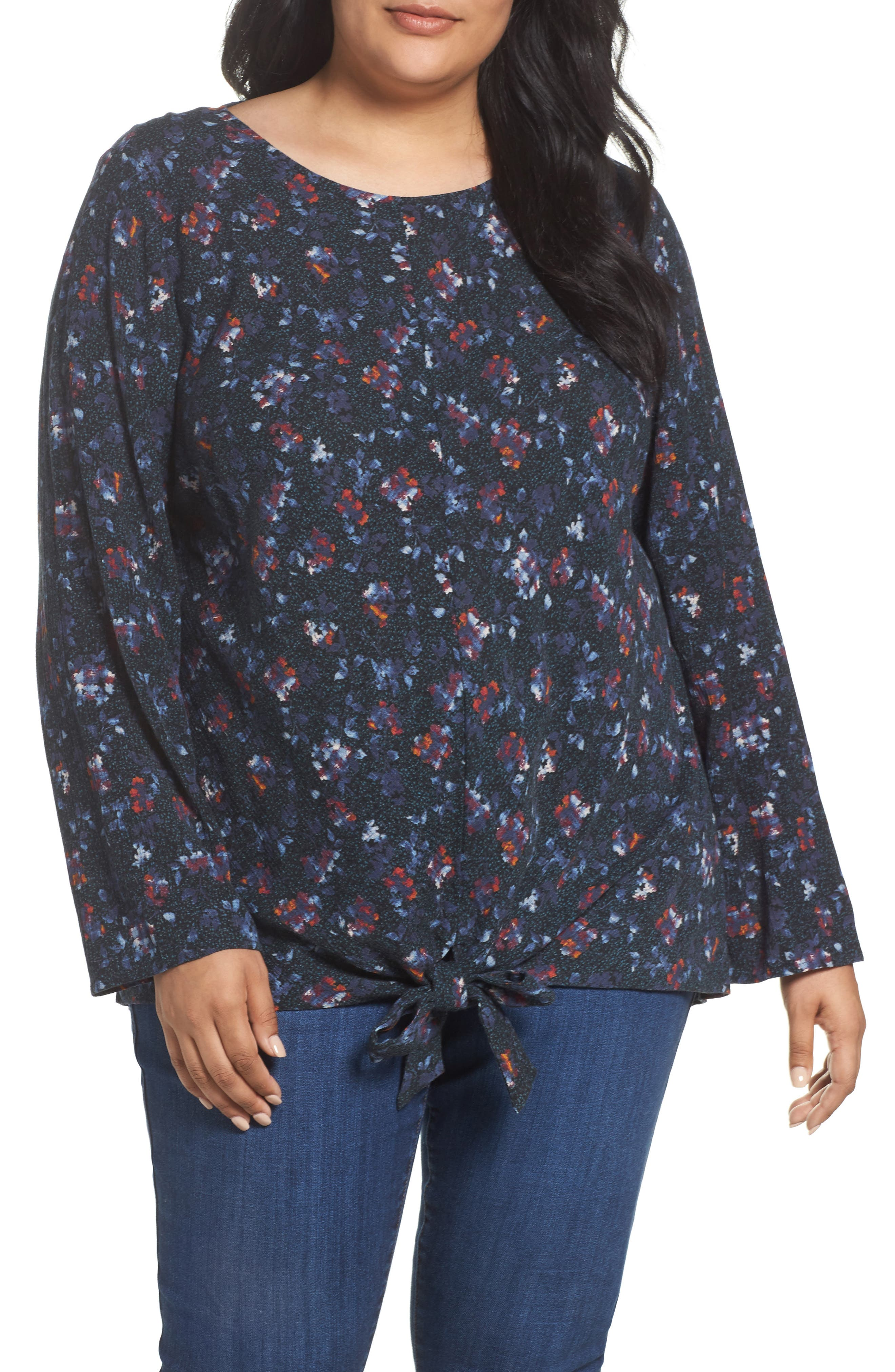 Knot Front Shirt,                         Main,                         color, Blue Delicate Pattern