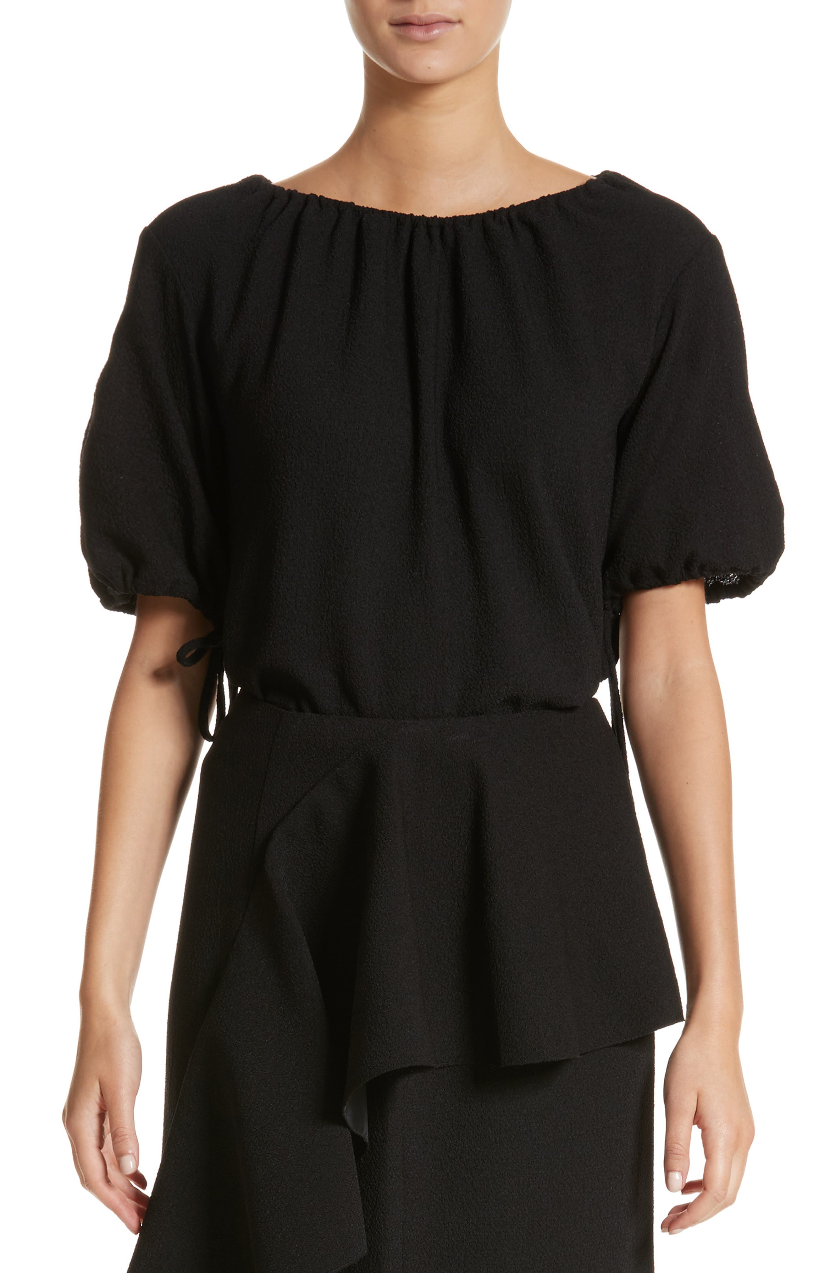 Sofie Puff Sleeve Crepe Blouse,                         Main,                         color, Black
