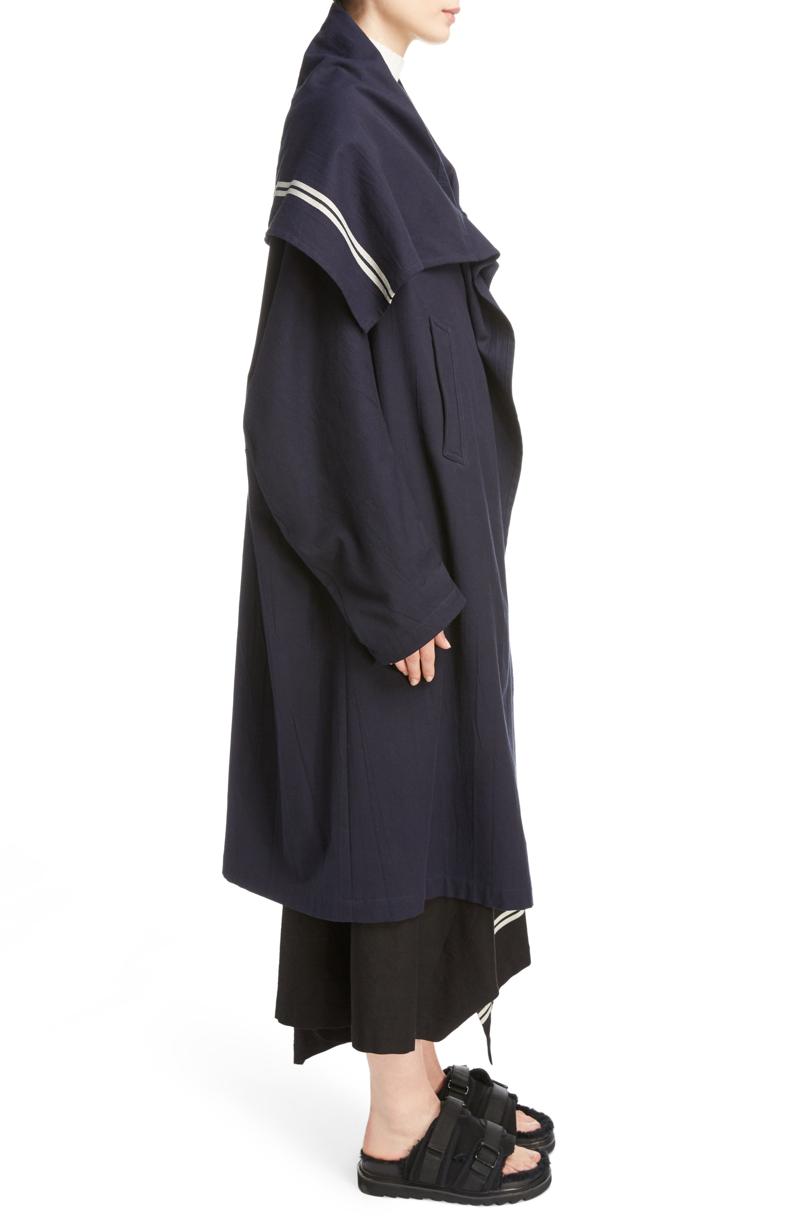 Drape Collar Coat,                             Alternate thumbnail 3, color,                             Navy
