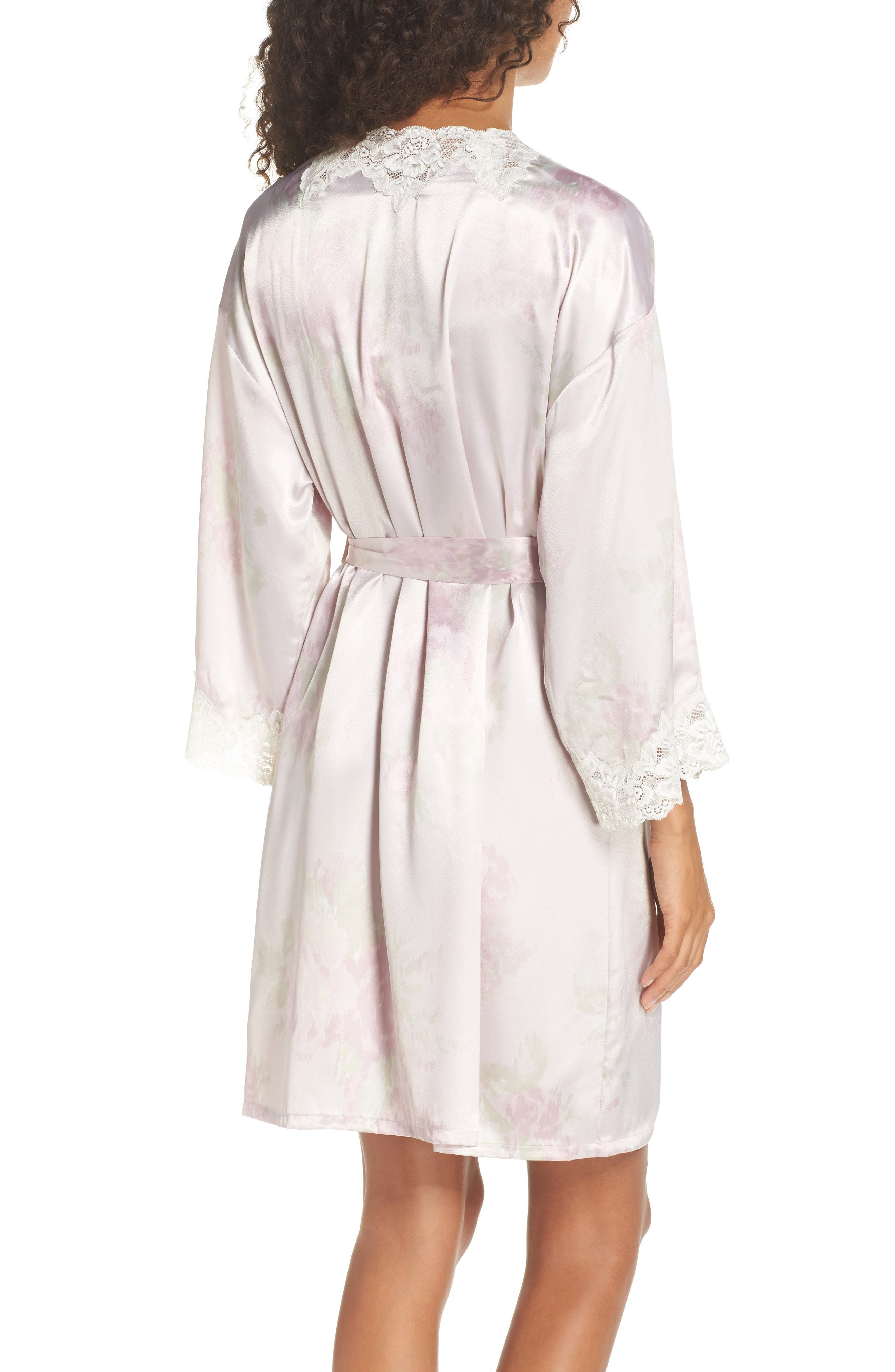 Lace & Satin Robe,                             Alternate thumbnail 2, color,                             Pink Ground Floral