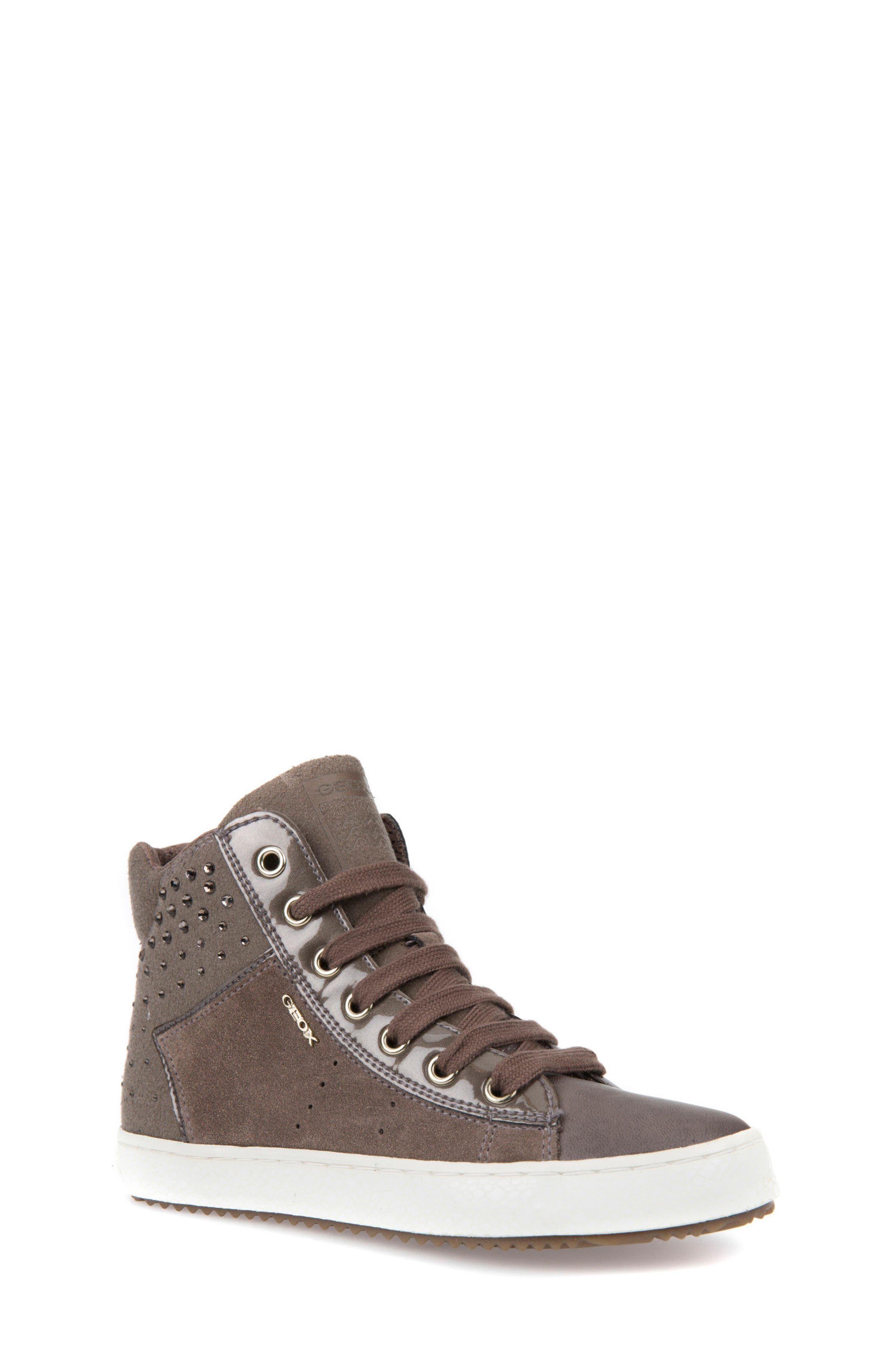 Kalispera Girl Embellished High Top Sneaker,                             Main thumbnail 1, color,                             Dark Beige