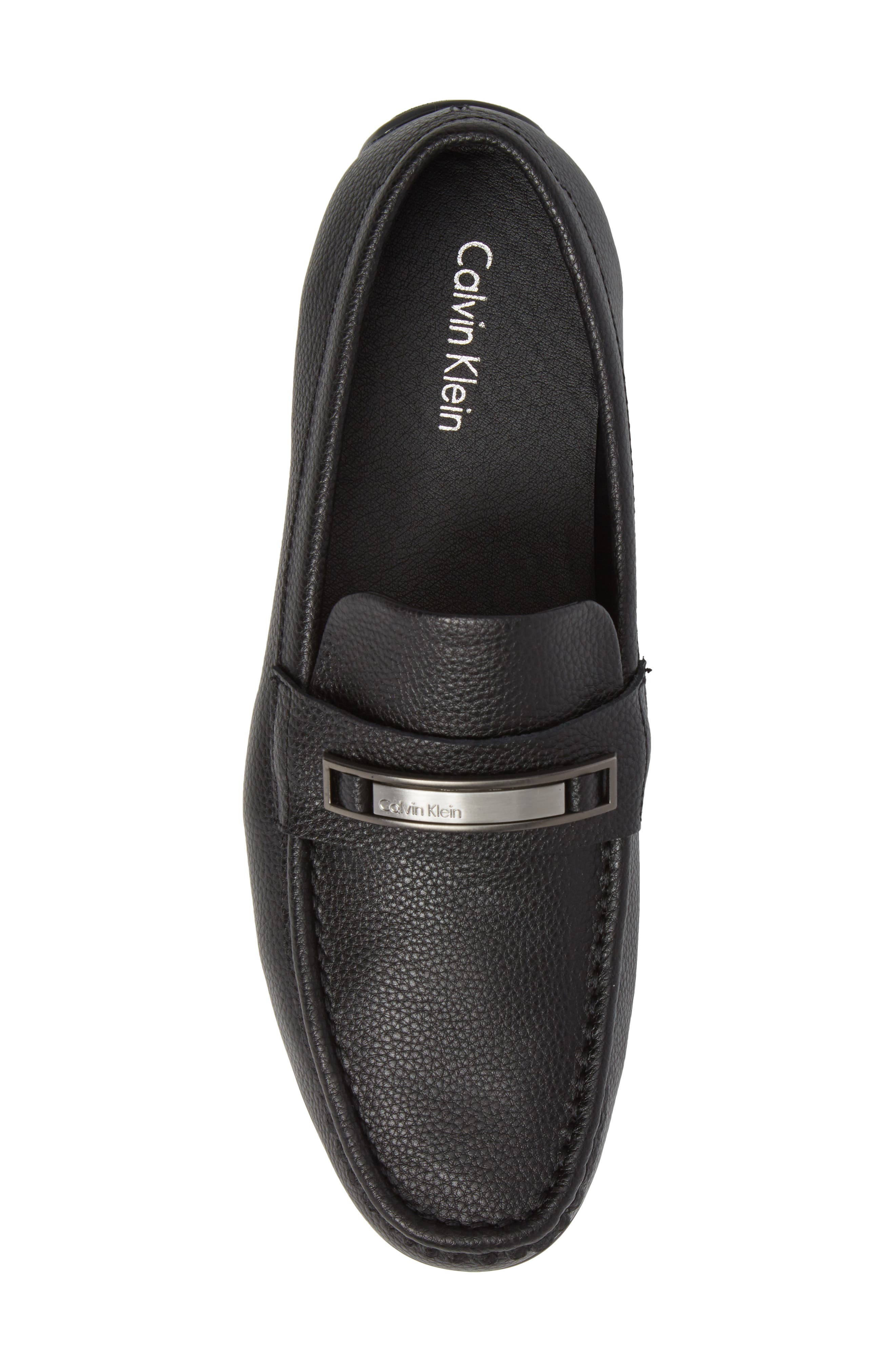 Irving Driving Loafer,                             Alternate thumbnail 4, color,                             Black Tumbled Leather
