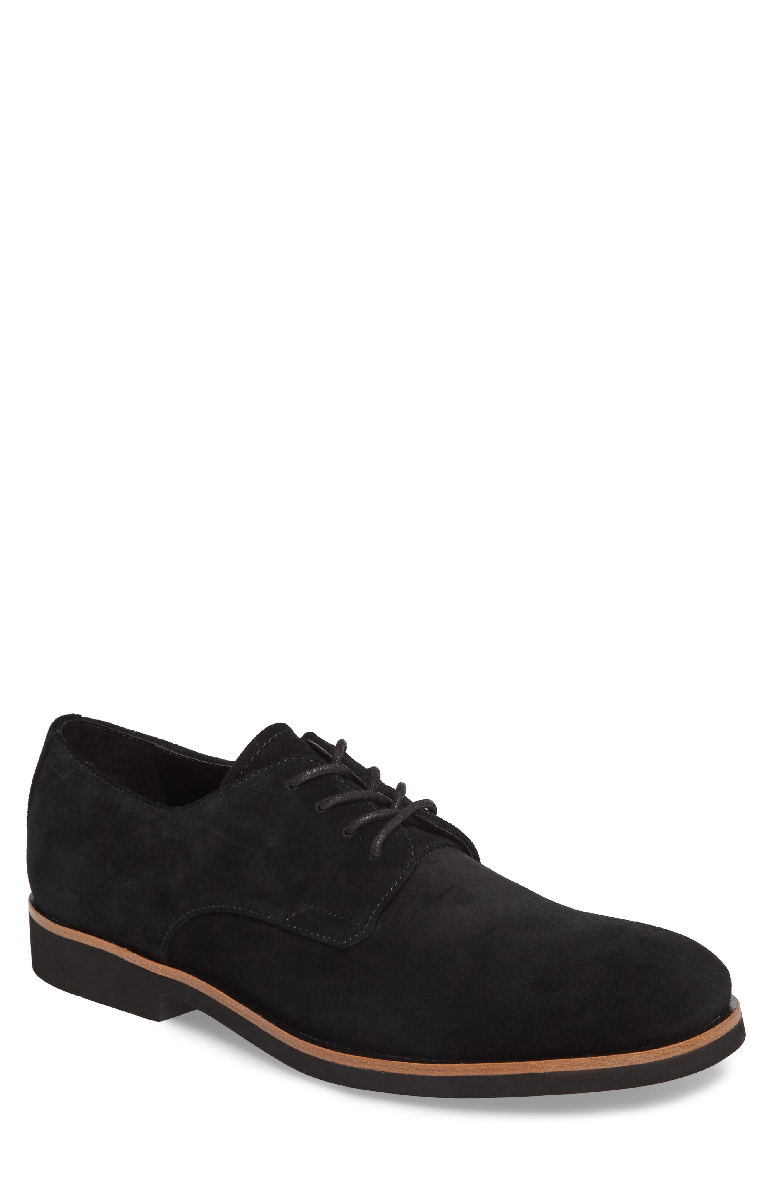 Faustino Plain Toe Derby,                         Main,                         color, Black Suede