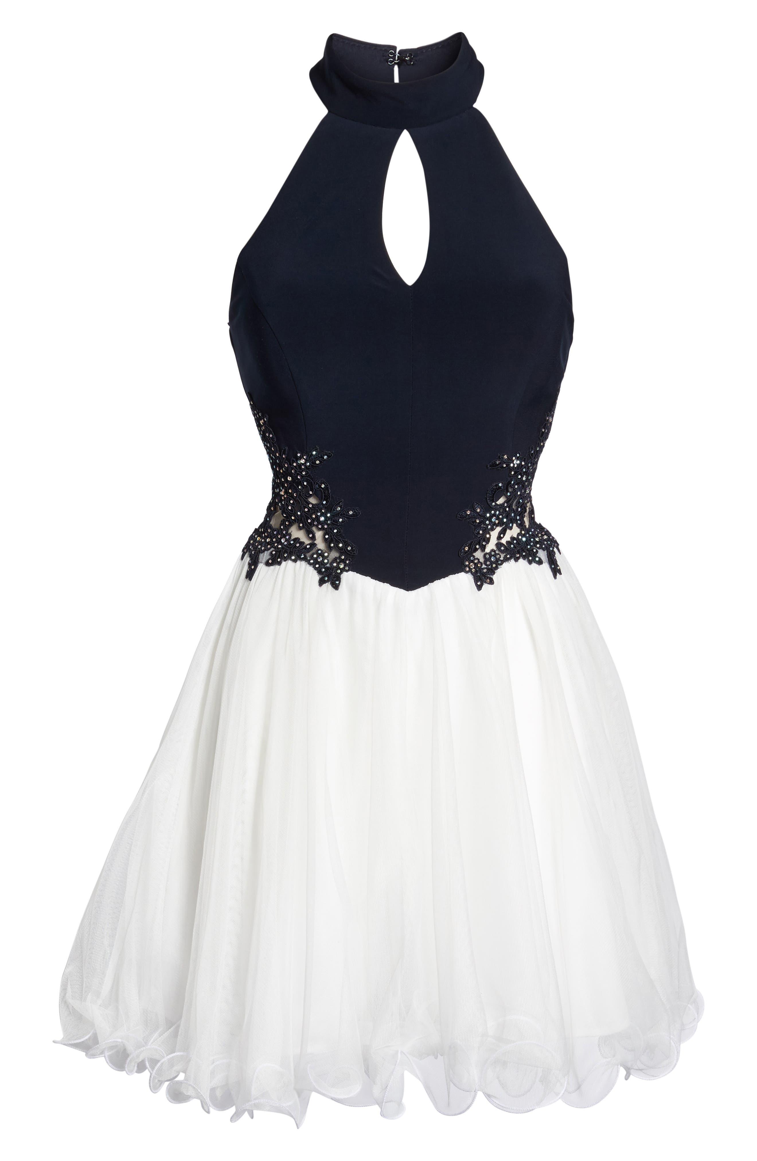 Alternate Image 6  - Blondie Nites Keyhole Appliqué Fit & Flare Dress