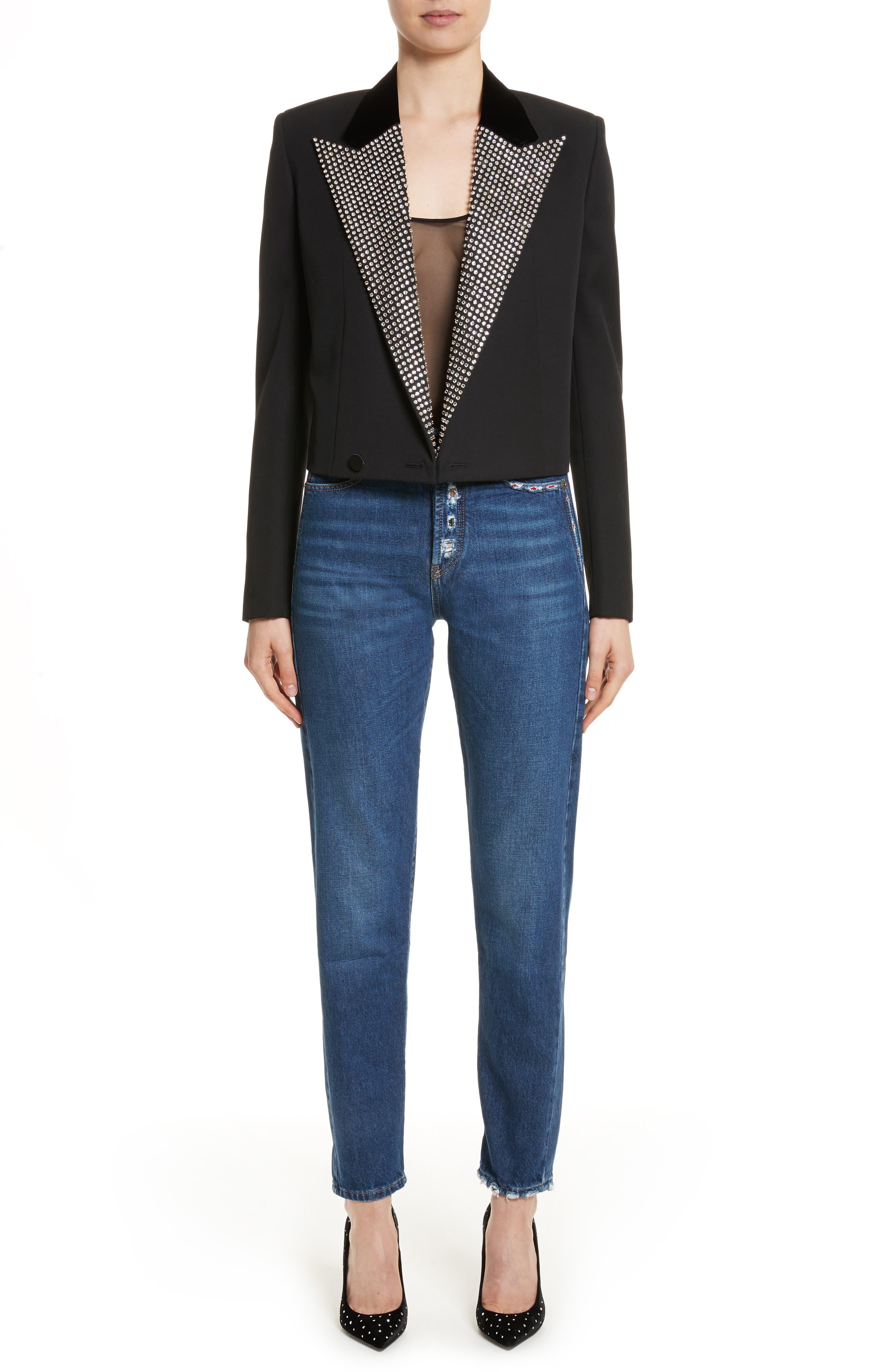 Alternate Image 8  - Saint Laurent Embroidered Jeans (Deep Dark Blue)