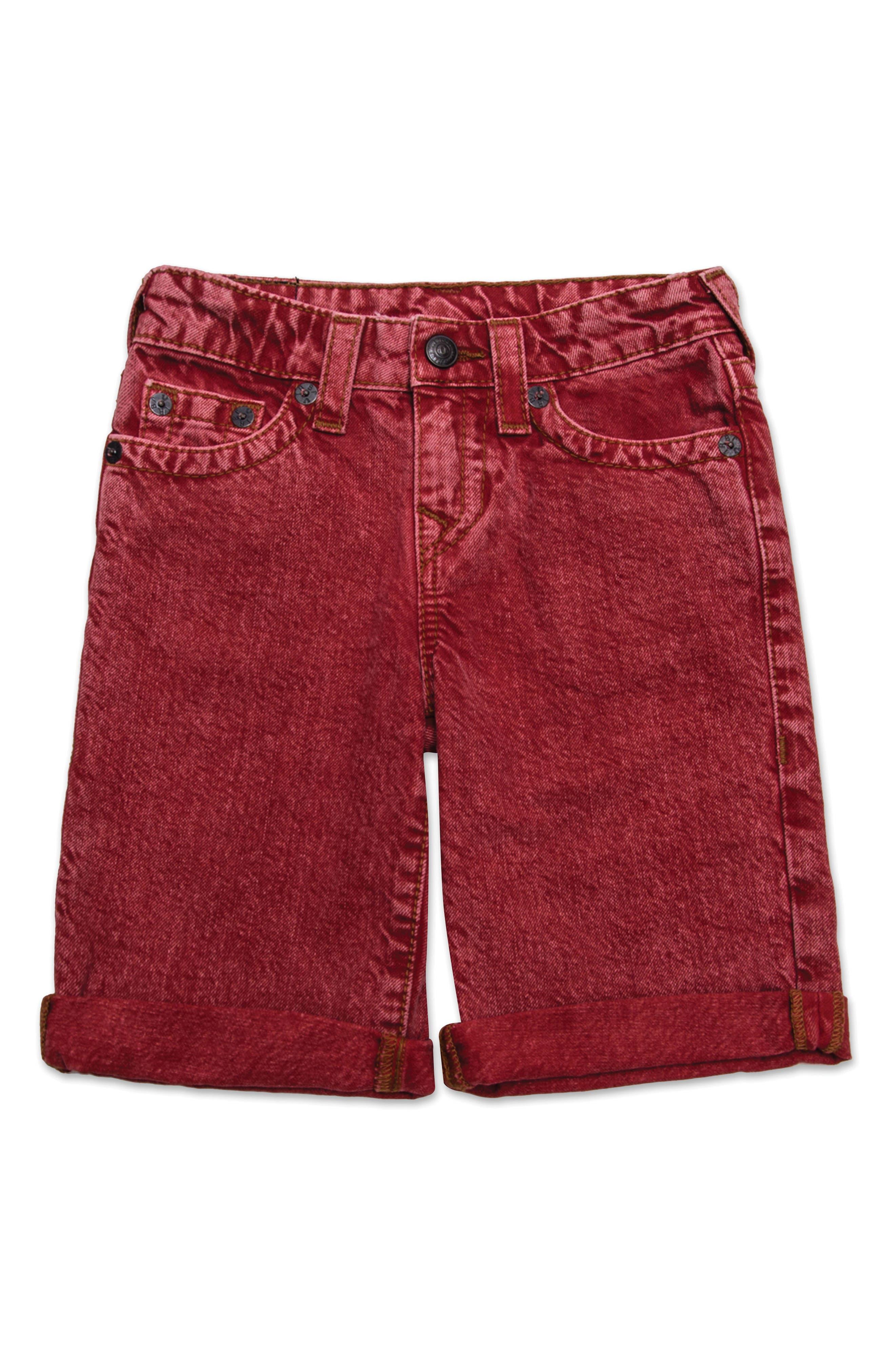 Geno Denim Shorts,                         Main,                         color, Washed Red
