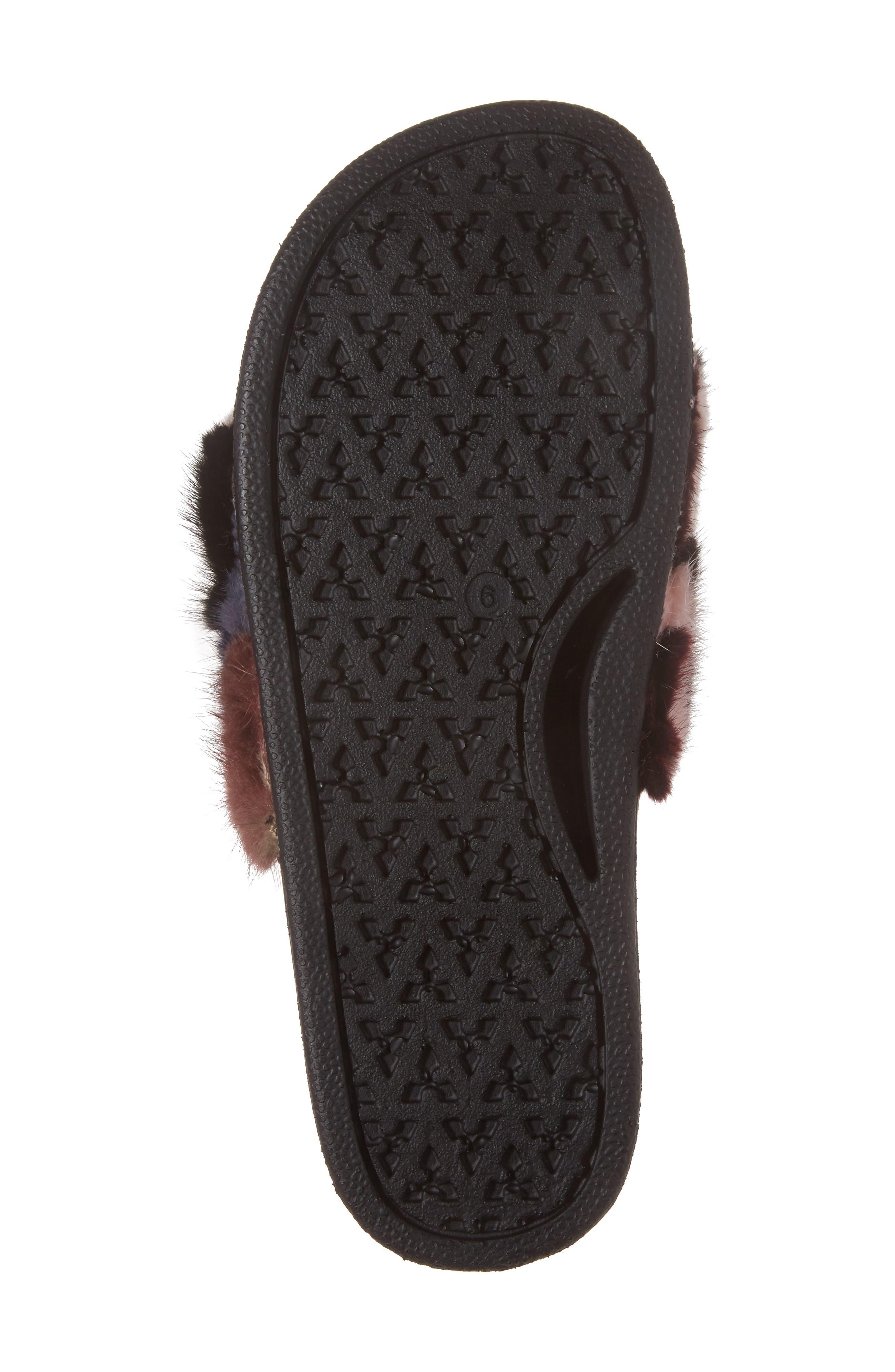 Sammi Genuine Fur Slide Sandal,                             Alternate thumbnail 6, color,                             Multi Fur