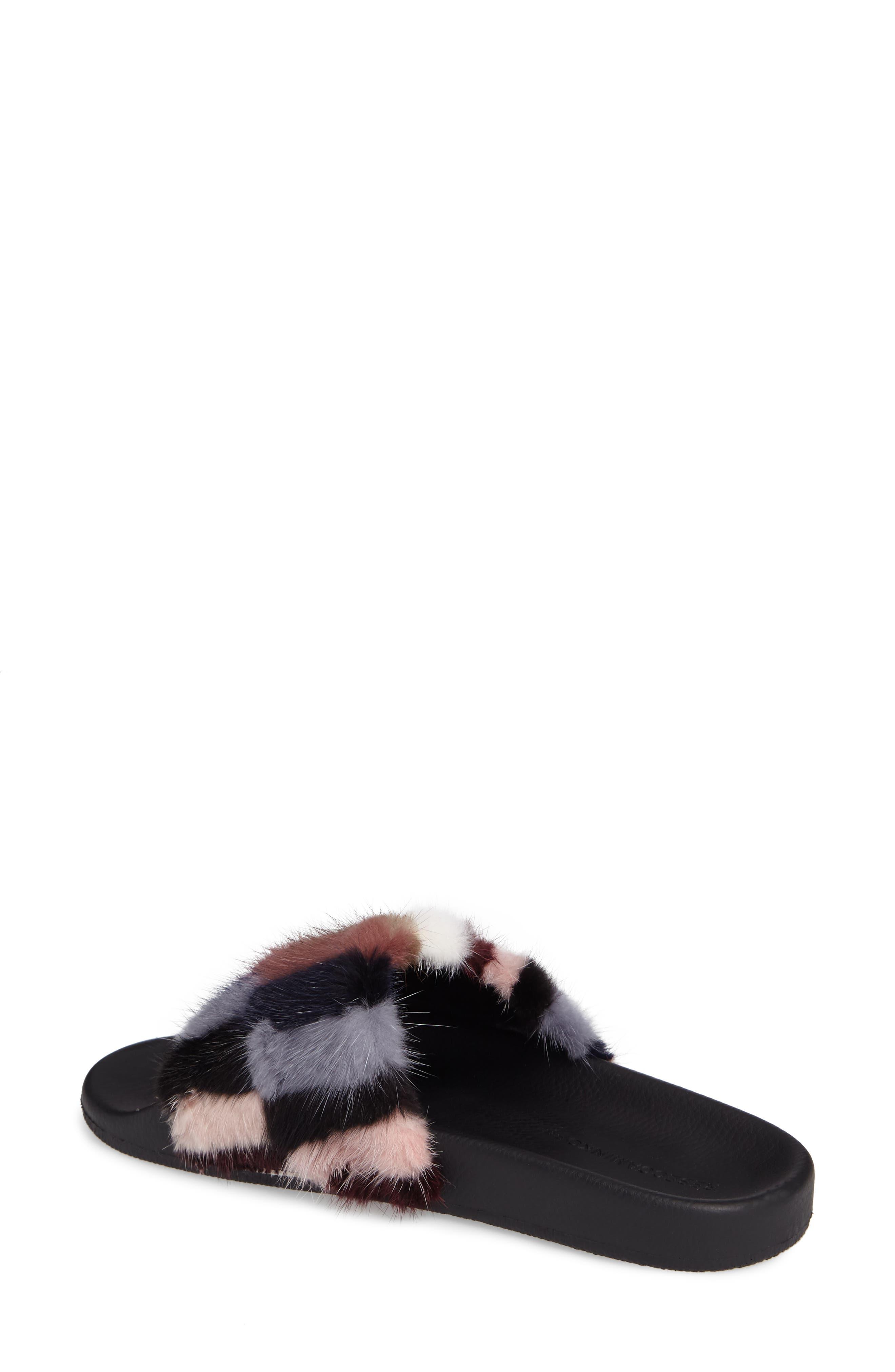 Sammi Genuine Fur Slide Sandal,                             Alternate thumbnail 2, color,                             Multi Fur