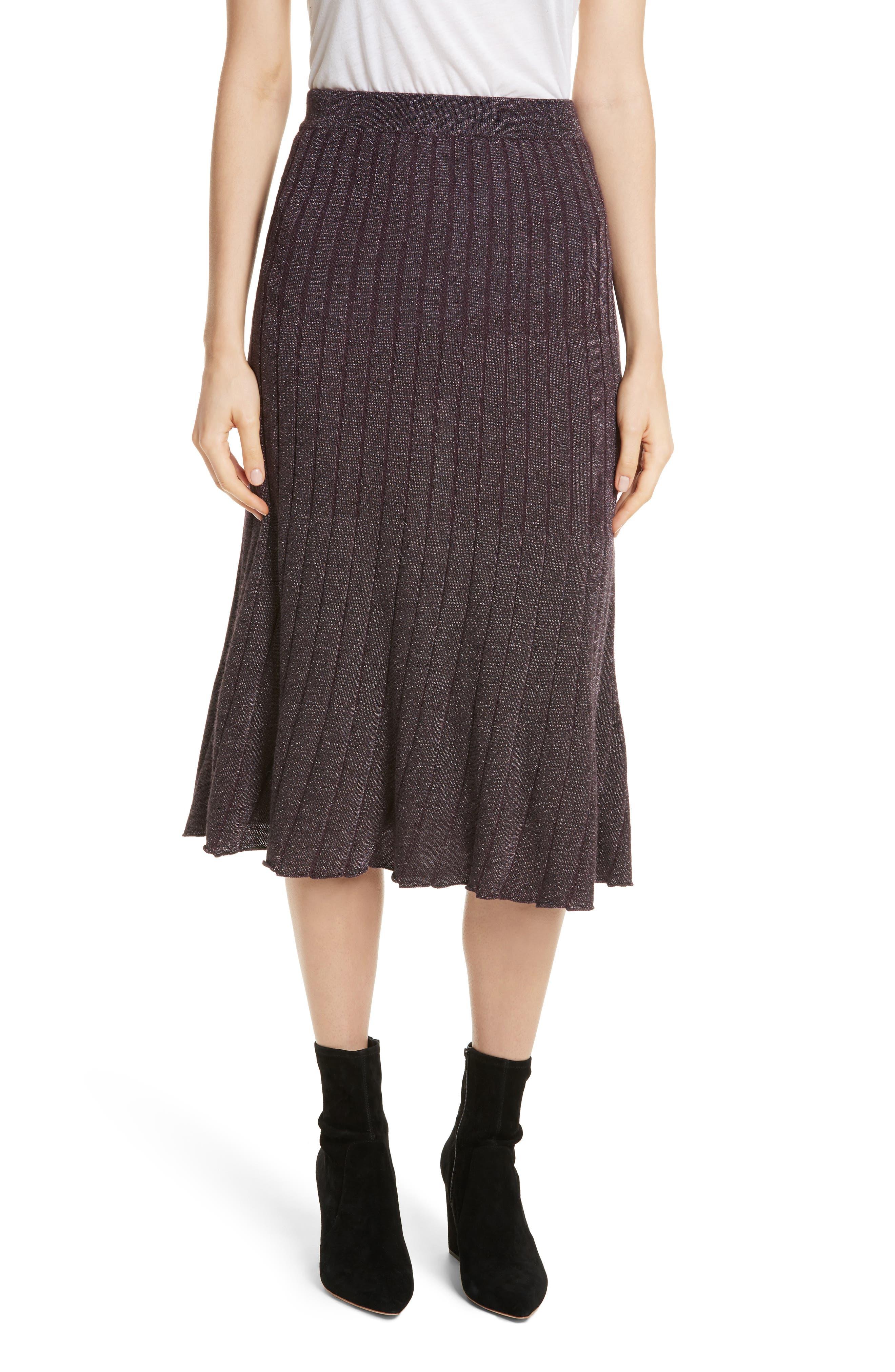 Metallic Ribbed Knit Skirt,                             Main thumbnail 1, color,                             Merlot