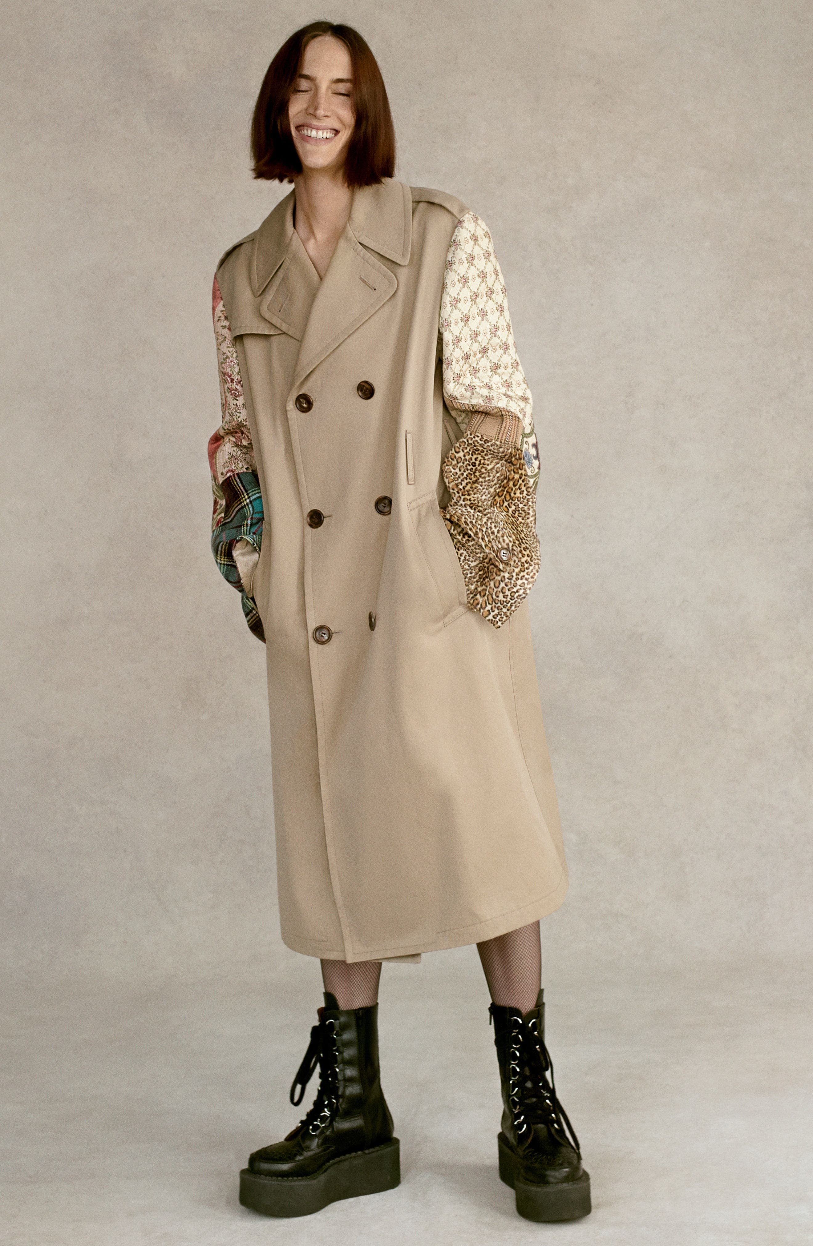 Patterned Sleeve Trench Coat,                             Alternate thumbnail 2, color,                             Beige X Mix
