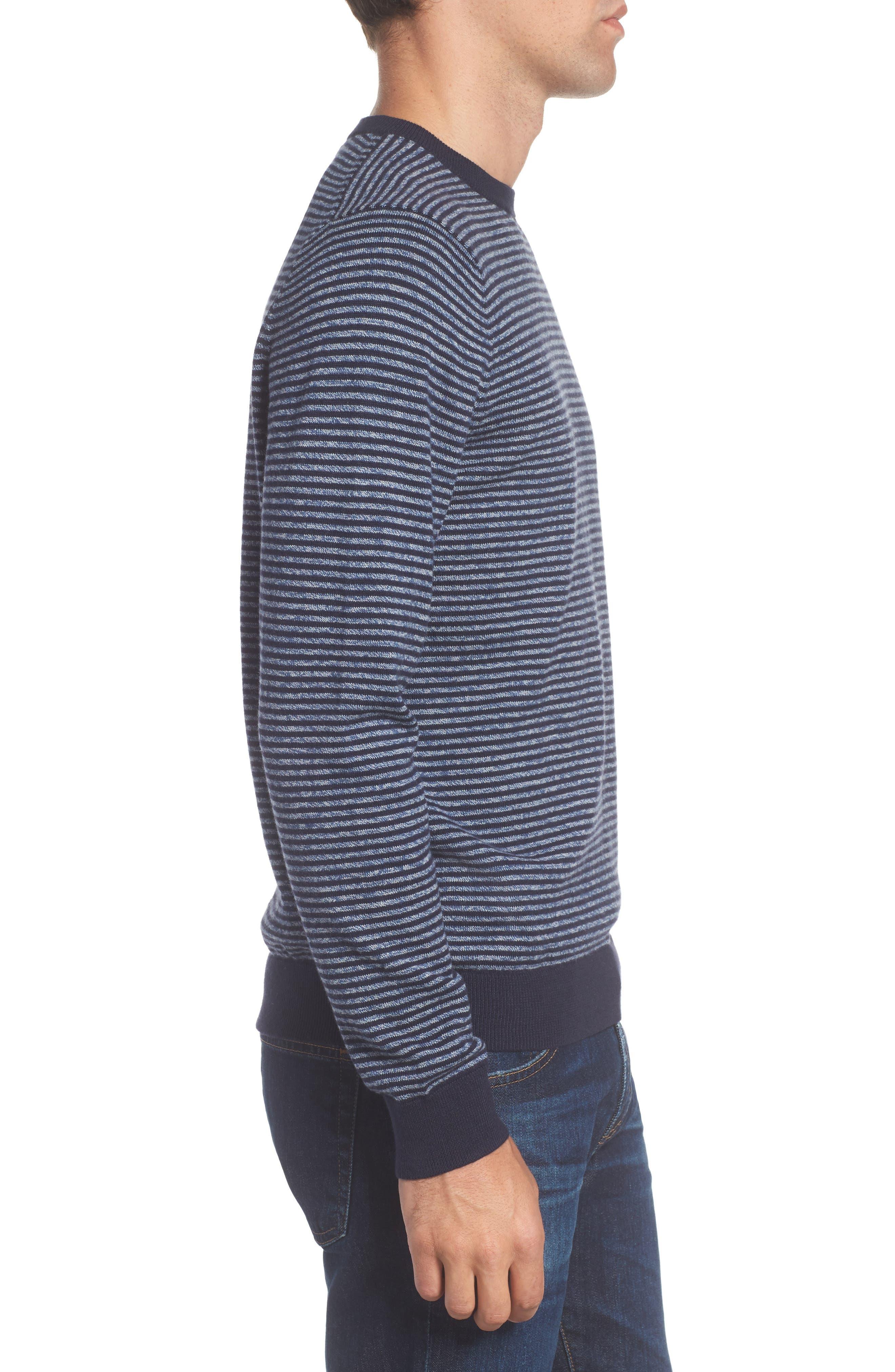 Stripe Cotton & Cashmere Crewneck Sweater,                             Alternate thumbnail 3, color,                             Navy Iris Jaspe Stripe