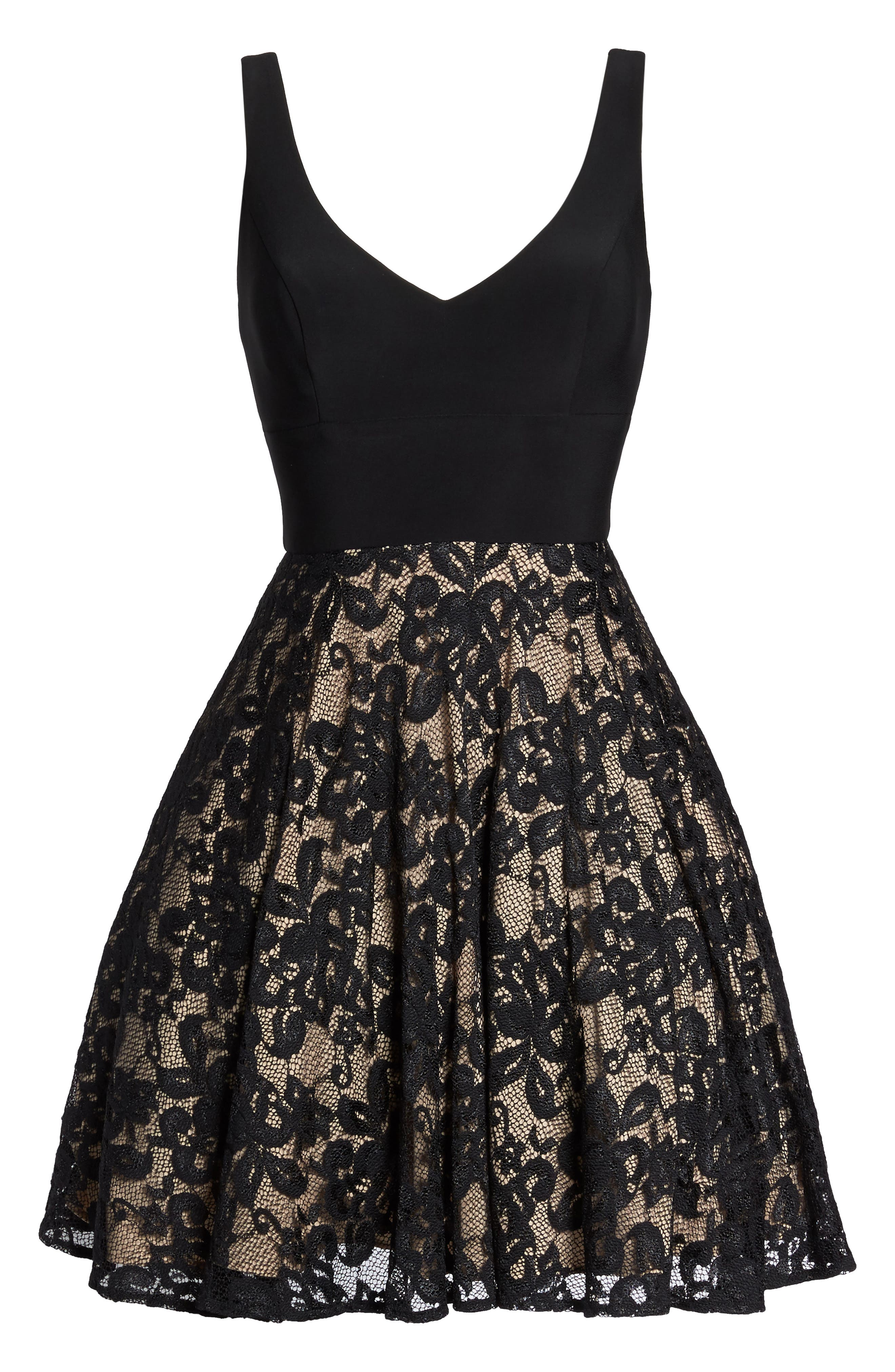 Jersey & Lace Party Dress,                             Alternate thumbnail 6, color,                             Black/ Nude