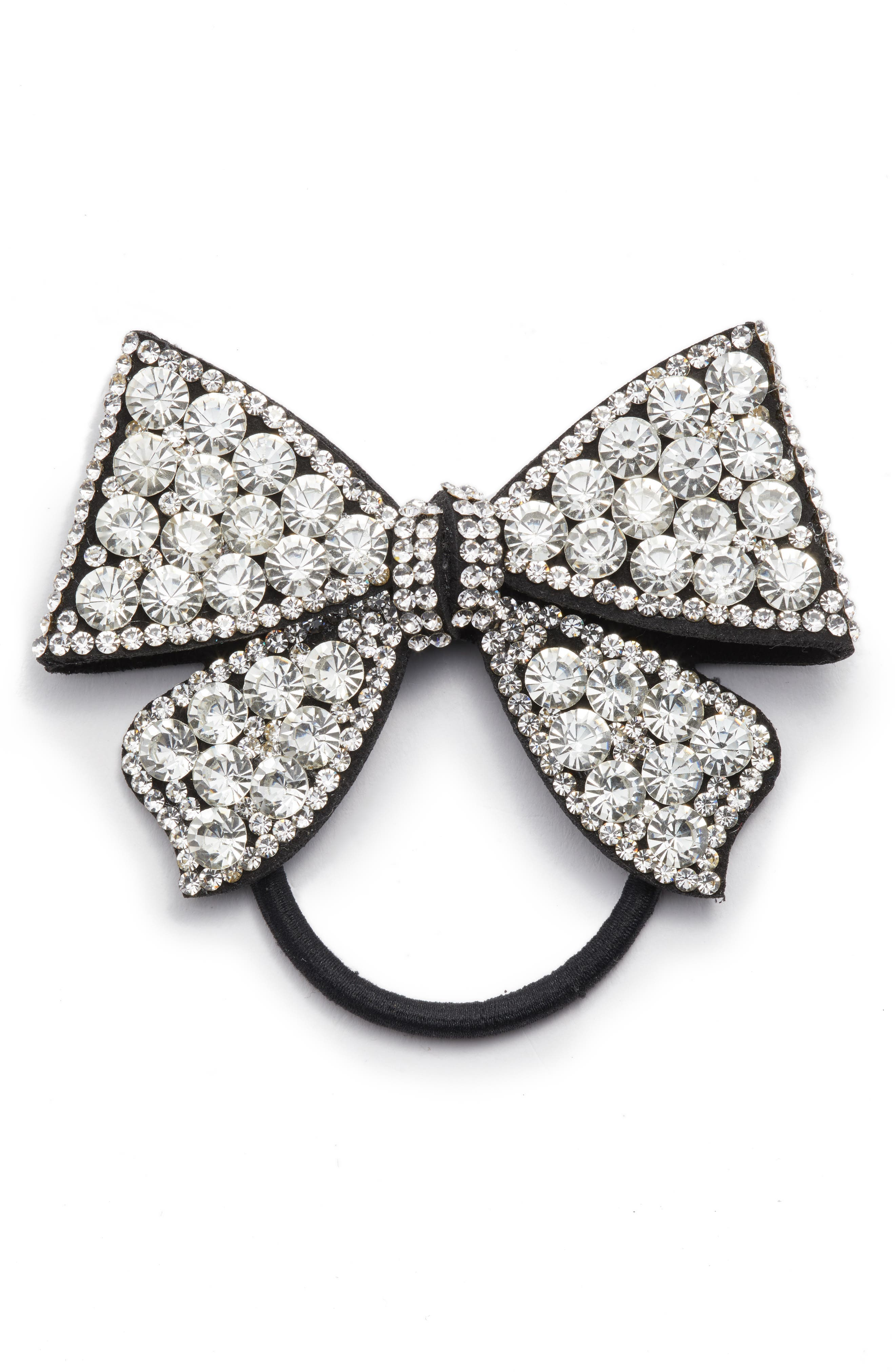 Crystal Bow Ponytail Holder,                         Main,                         color, Silver