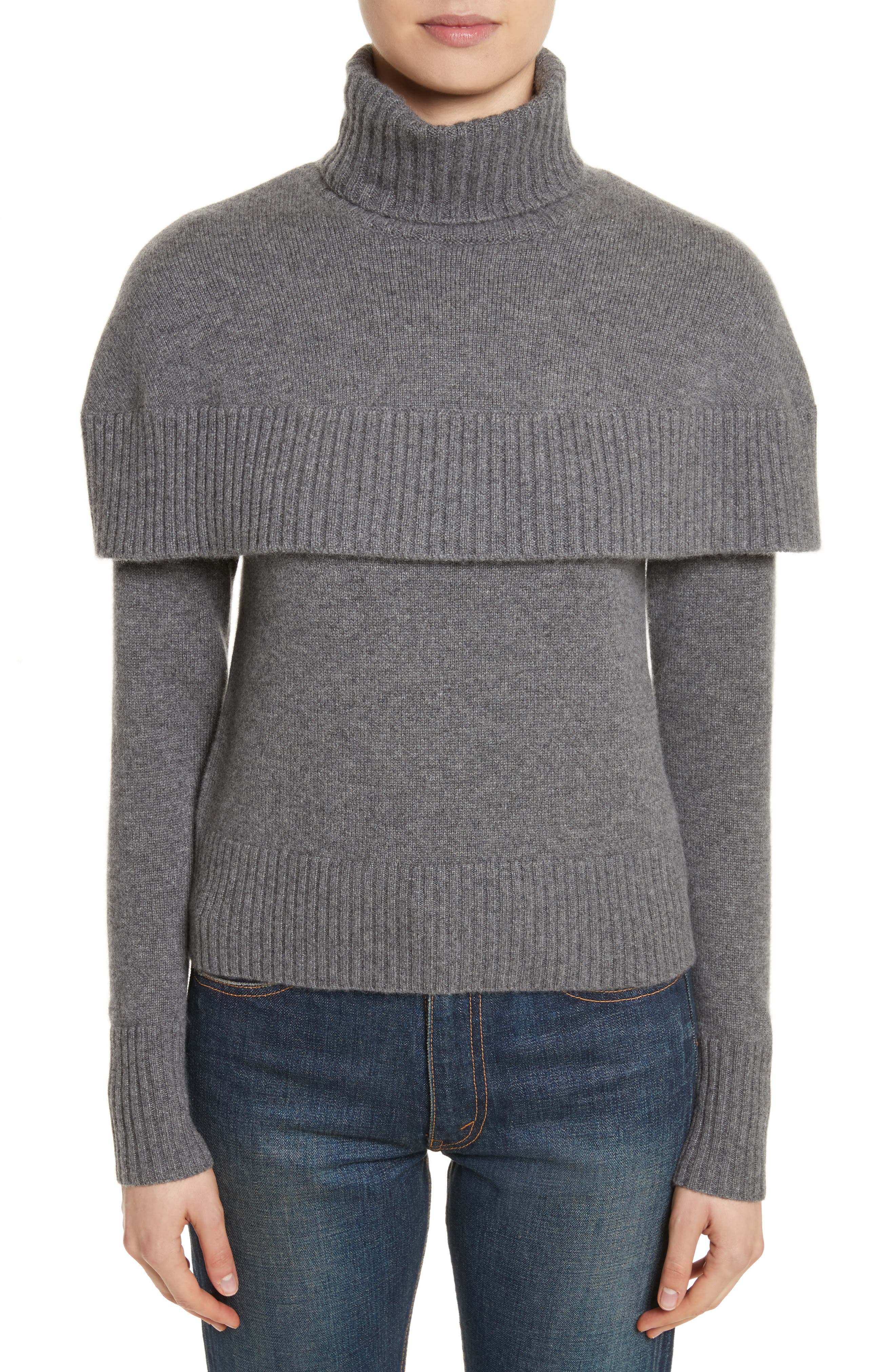 Cashmere Mini Cape Turtleneck Sweater,                         Main,                         color, Charcoal Black