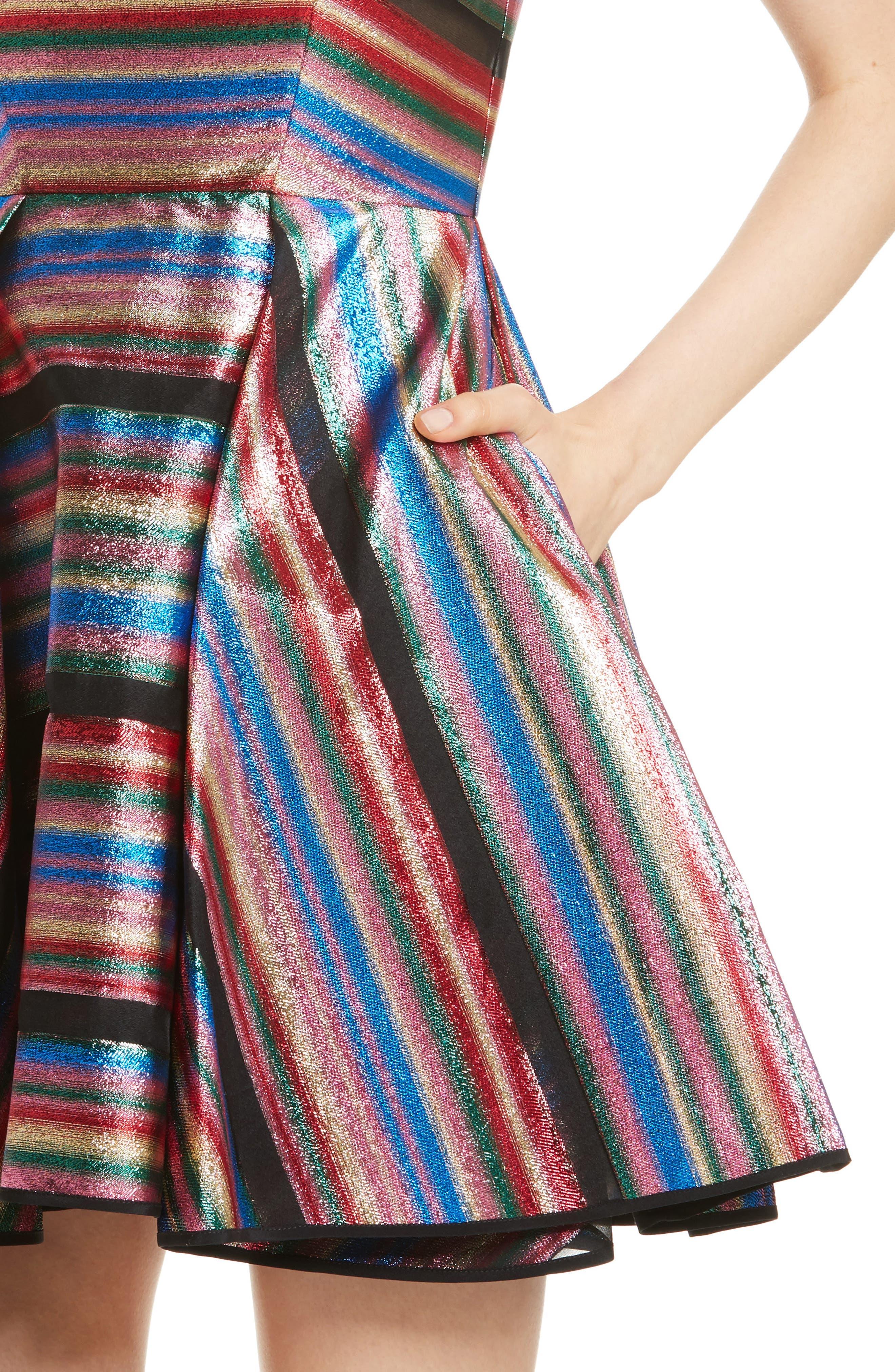 Balli Metallic Stripe Fit & Flare Dress,                             Alternate thumbnail 4, color,                             Multi