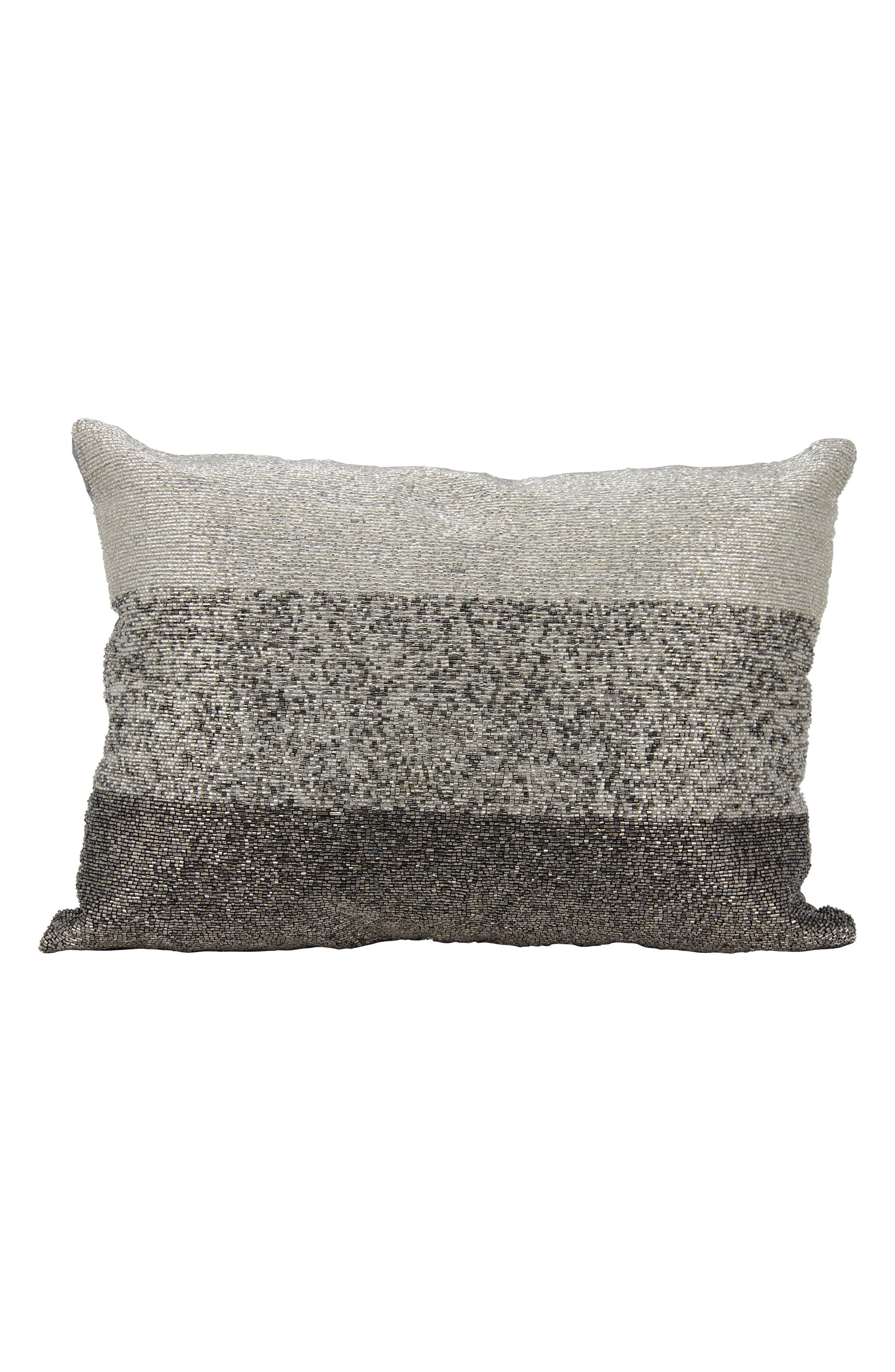 Beaded Accent Pillow,                         Main,                         color, Pewter