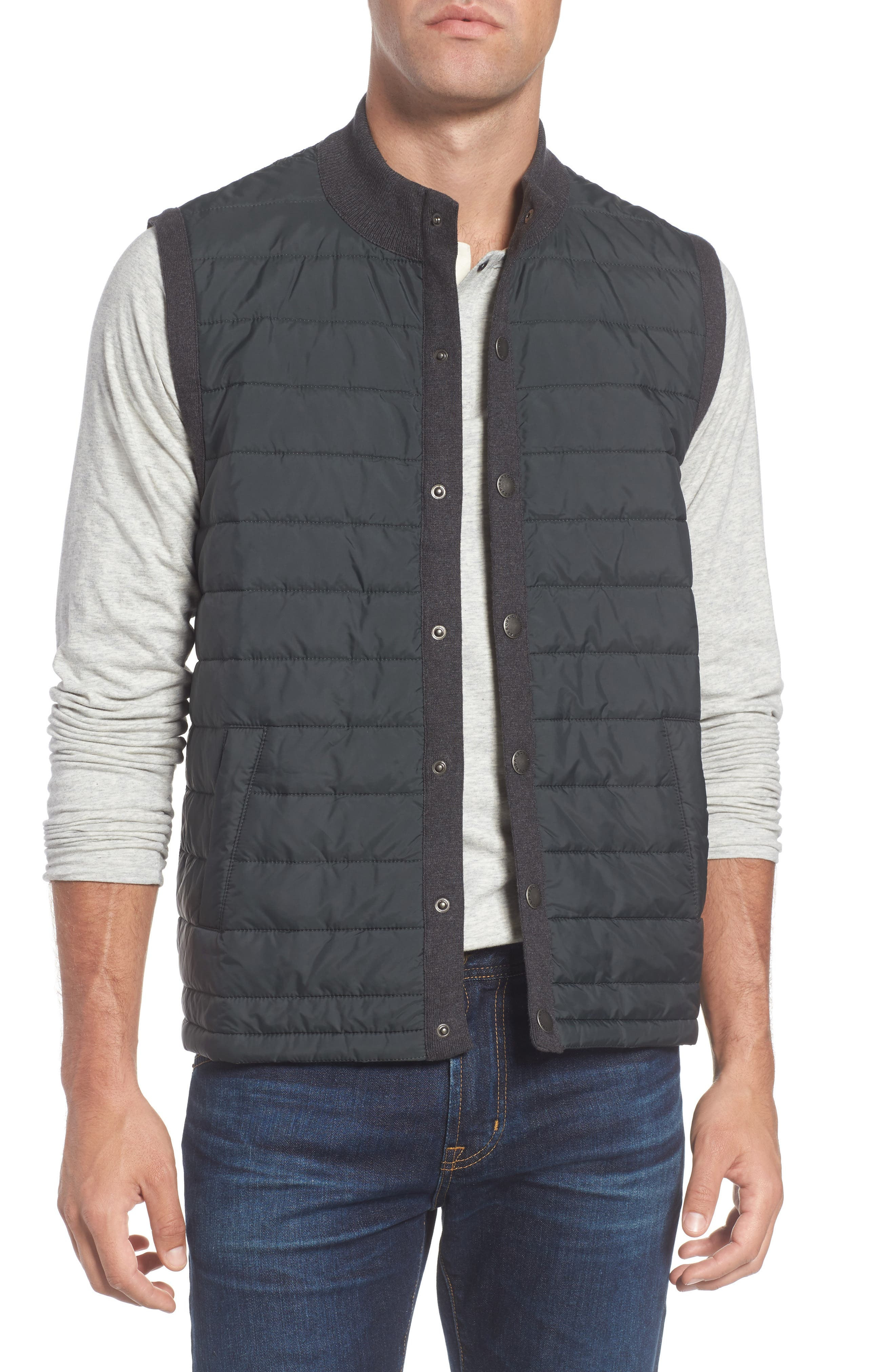 'Essential' Tailored Fit Mixed Media Vest,                         Main,                         color, Charcoal