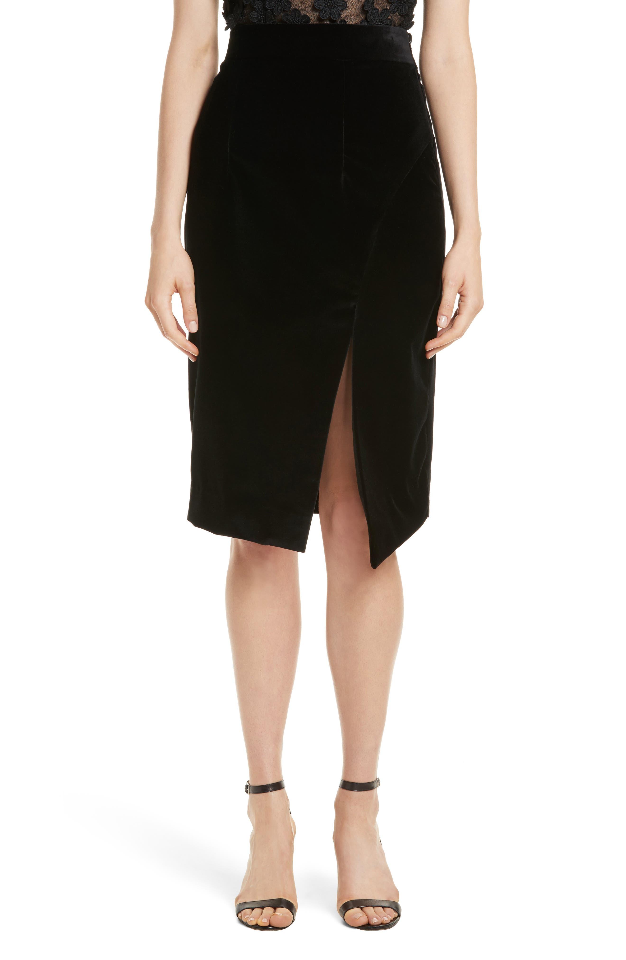 Robin Velveteen Faux Wrap Skirt,                         Main,                         color, Black
