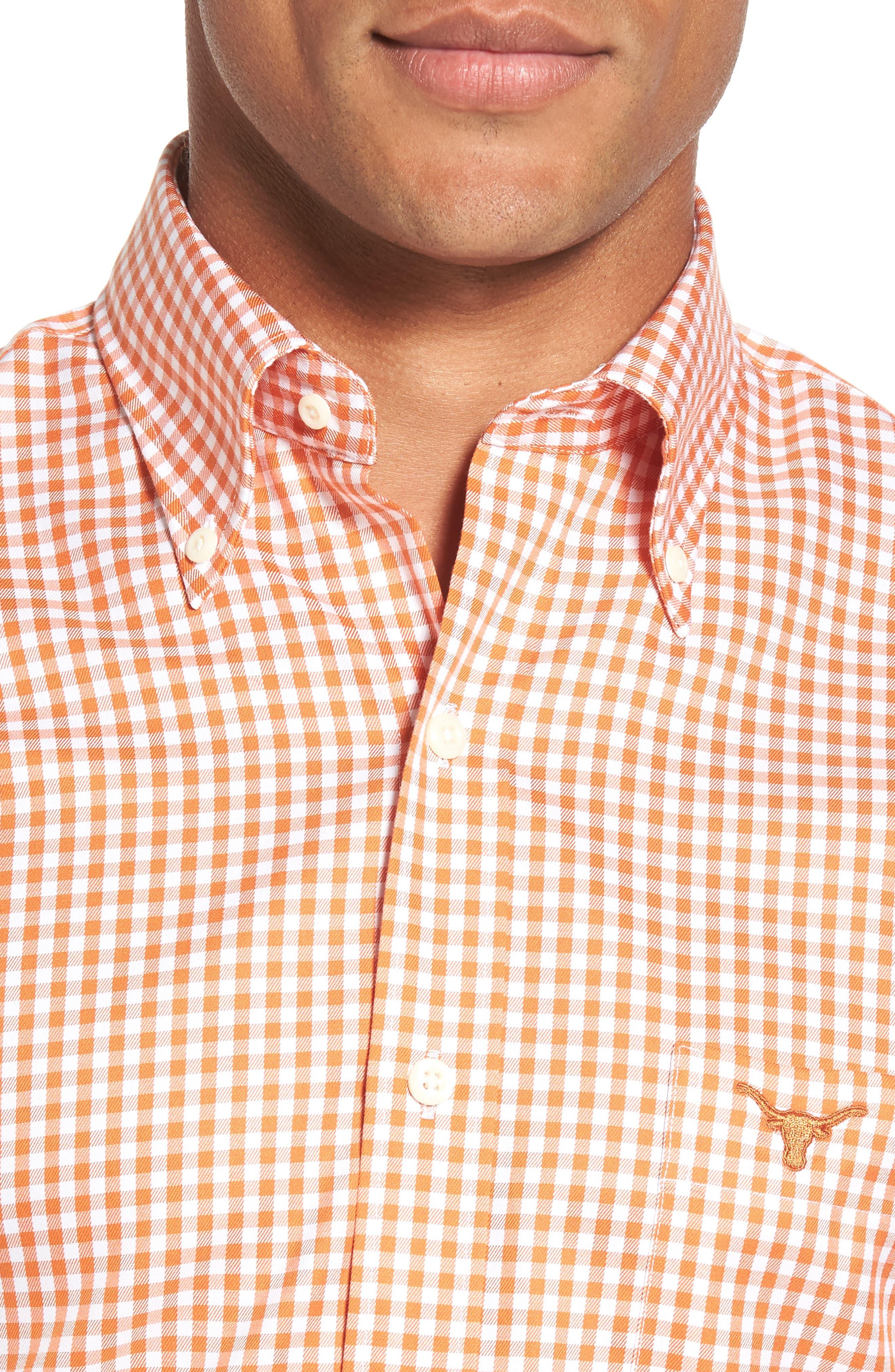 Texas Regular Fit Microcheck Sport Shirt,                             Alternate thumbnail 4, color,                             Rust