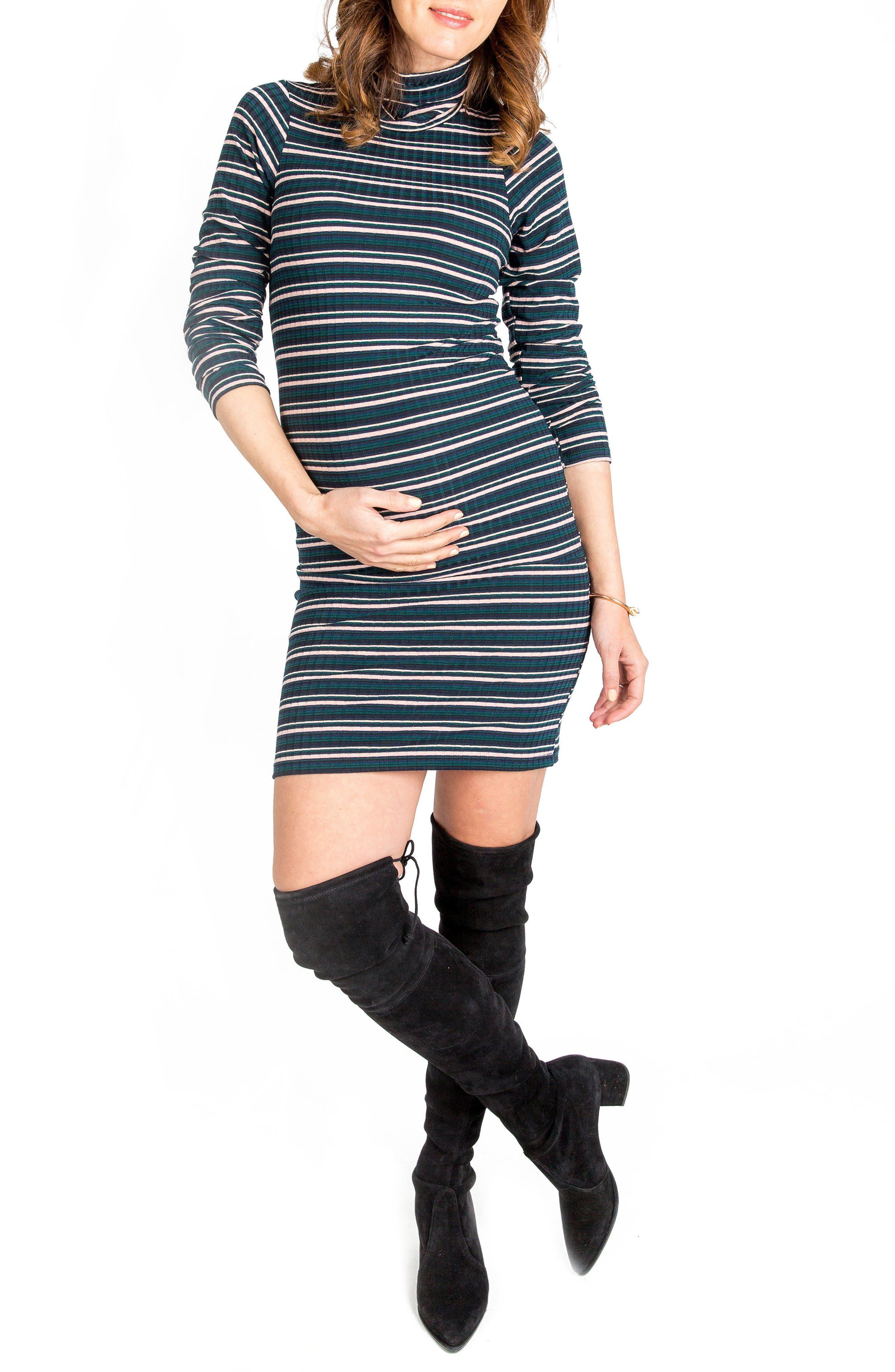 Talya Turtleneck Maternity Dress,                         Main,                         color, Multi Green Rib
