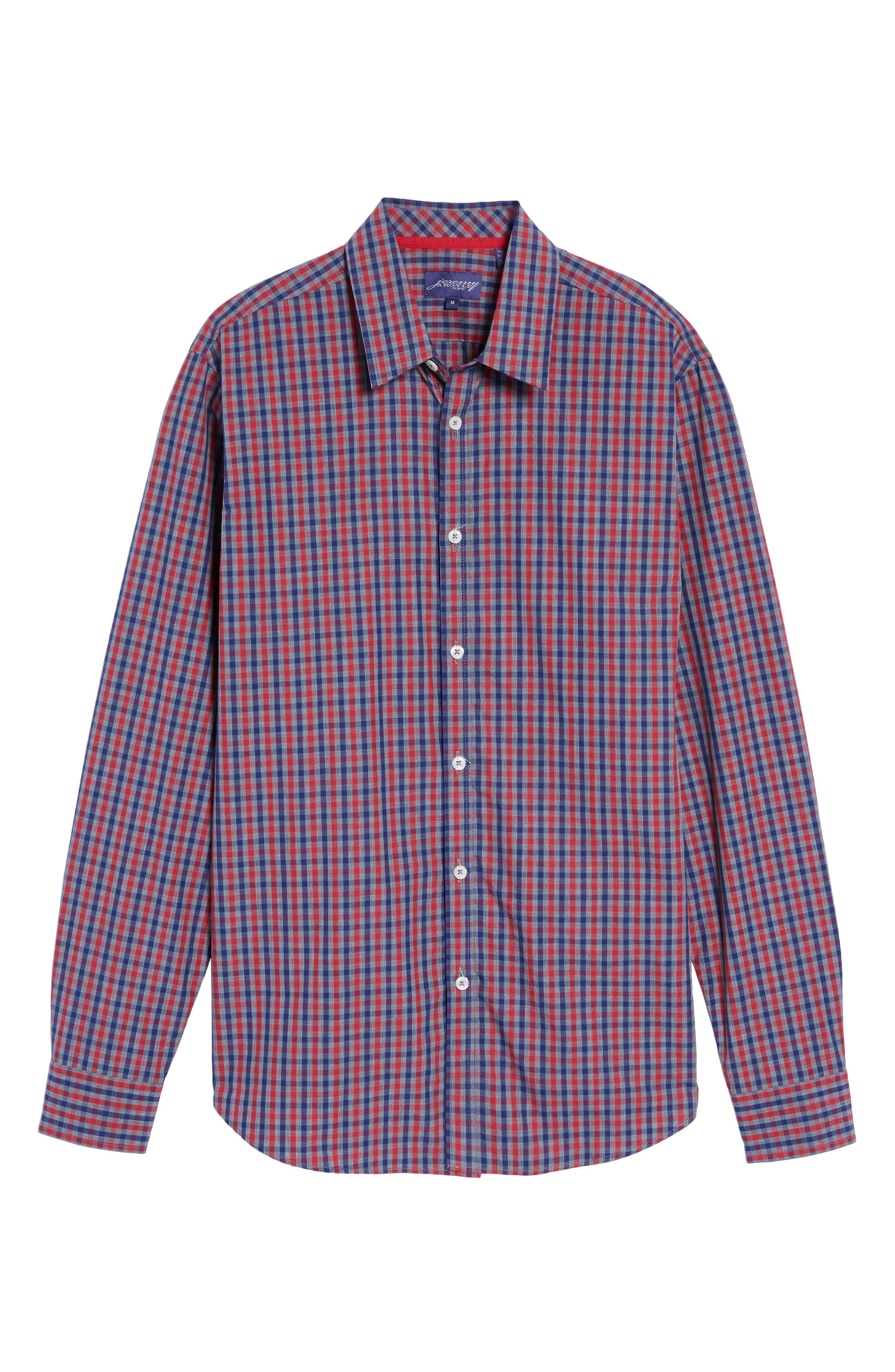 Comfort Fit Check Sport Shirt,                             Alternate thumbnail 6, color,                             Bright Red