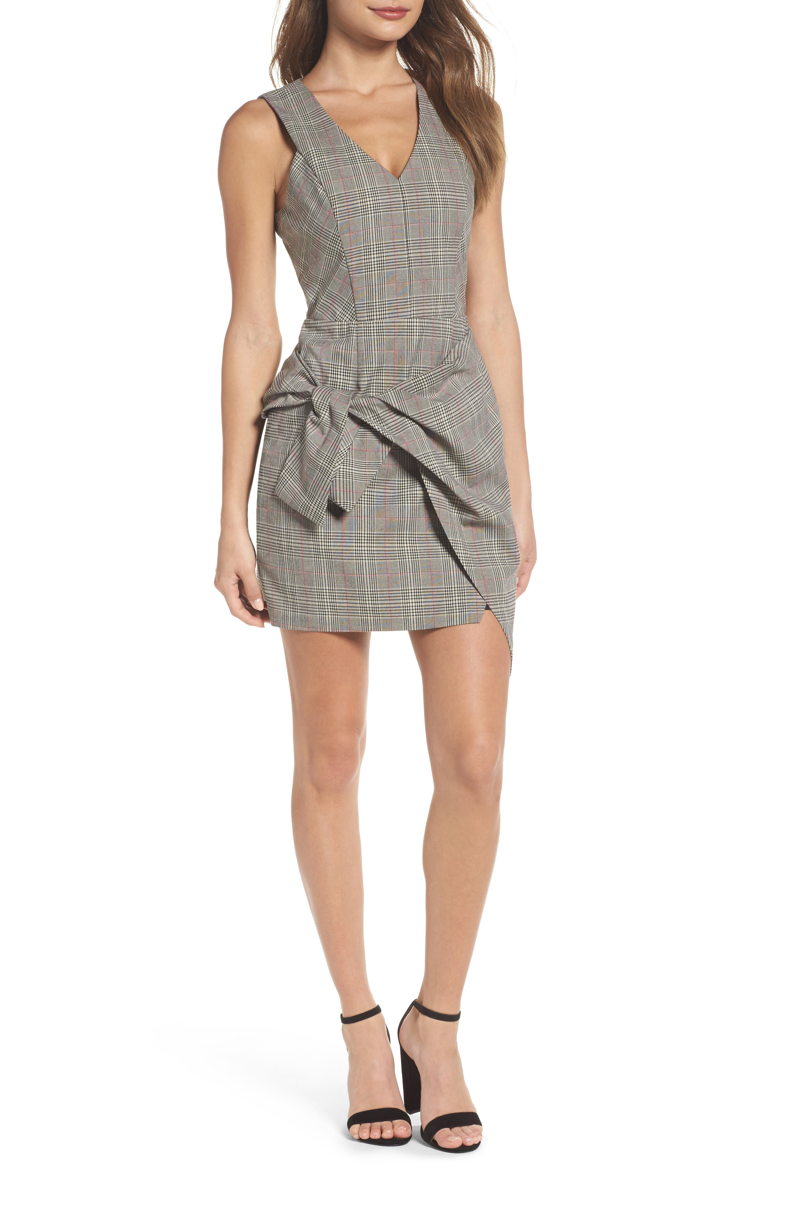 Adelyn Rae Aurora Plaid Tie Sheath