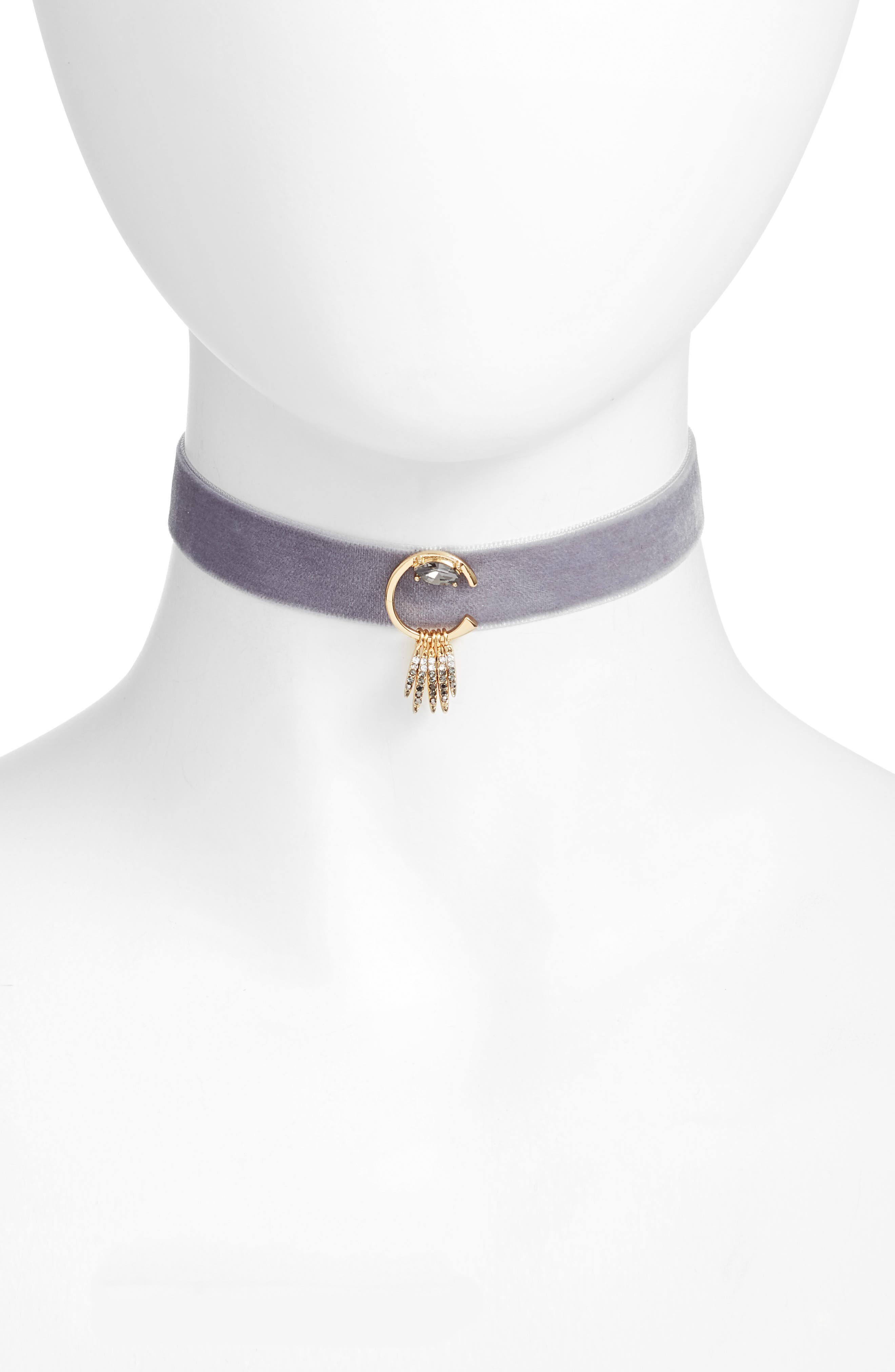 Velvet Choker Necklace,                         Main,                         color, New Grey/ Gold