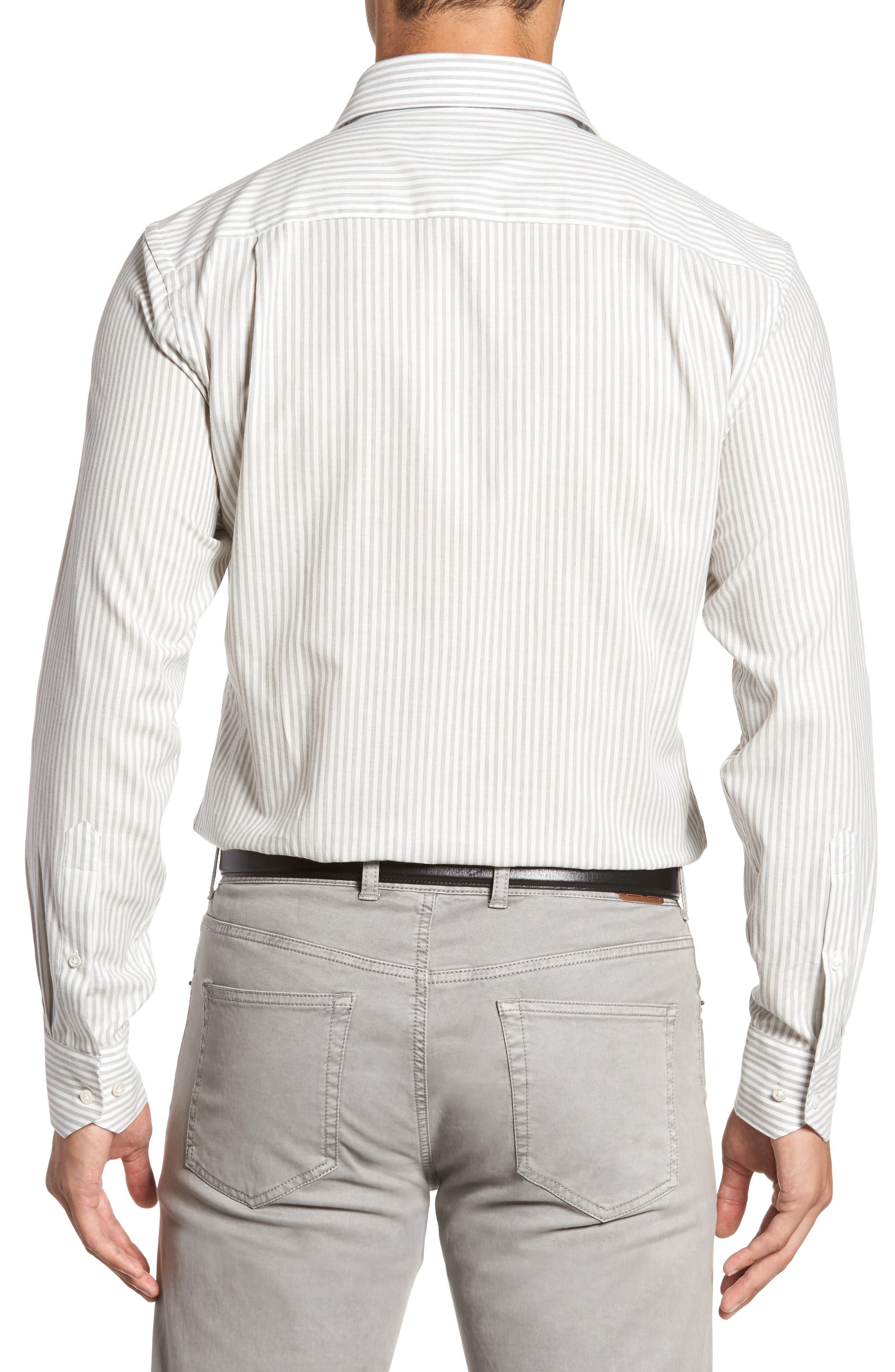 Loch Mélange Stripe Sport Shirt,                             Alternate thumbnail 2, color,                             Argento