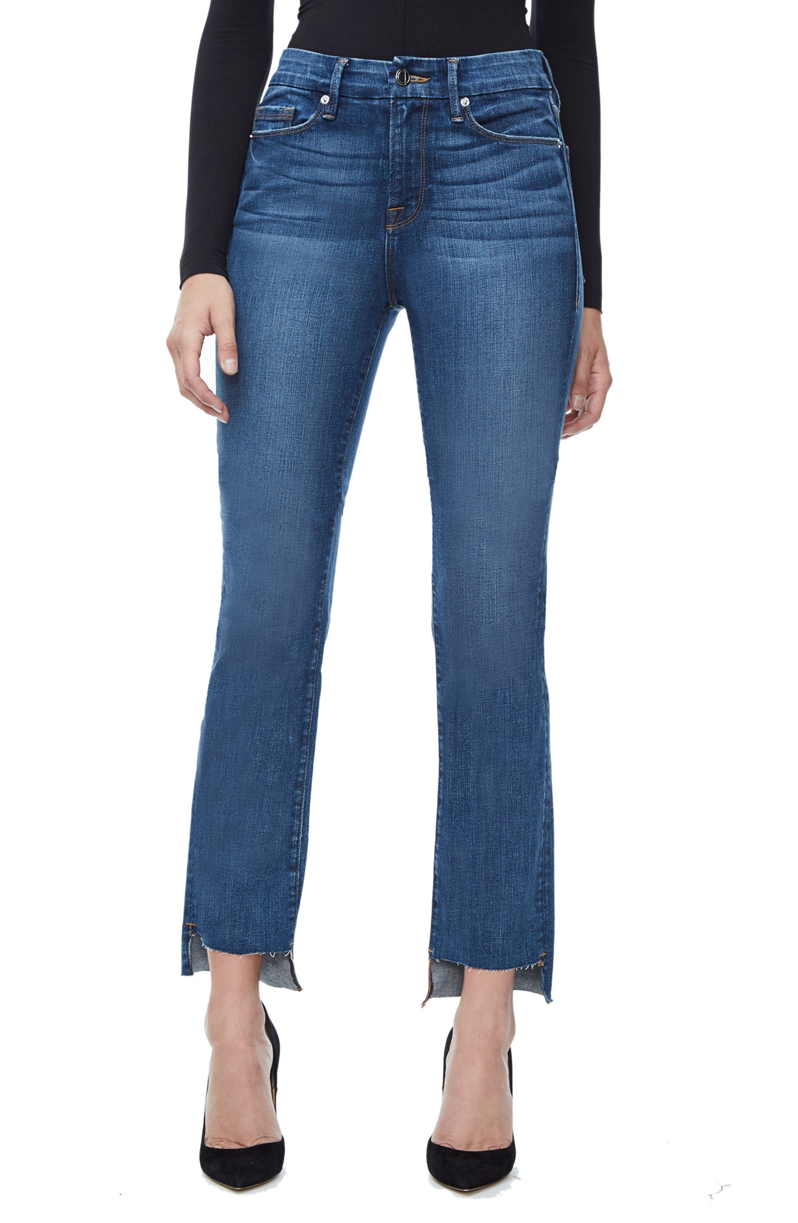 Main Image - Good American Good Straight Raw Hem High Waist Straight Leg Jeans (Blue 086) (Extended Sizes)
