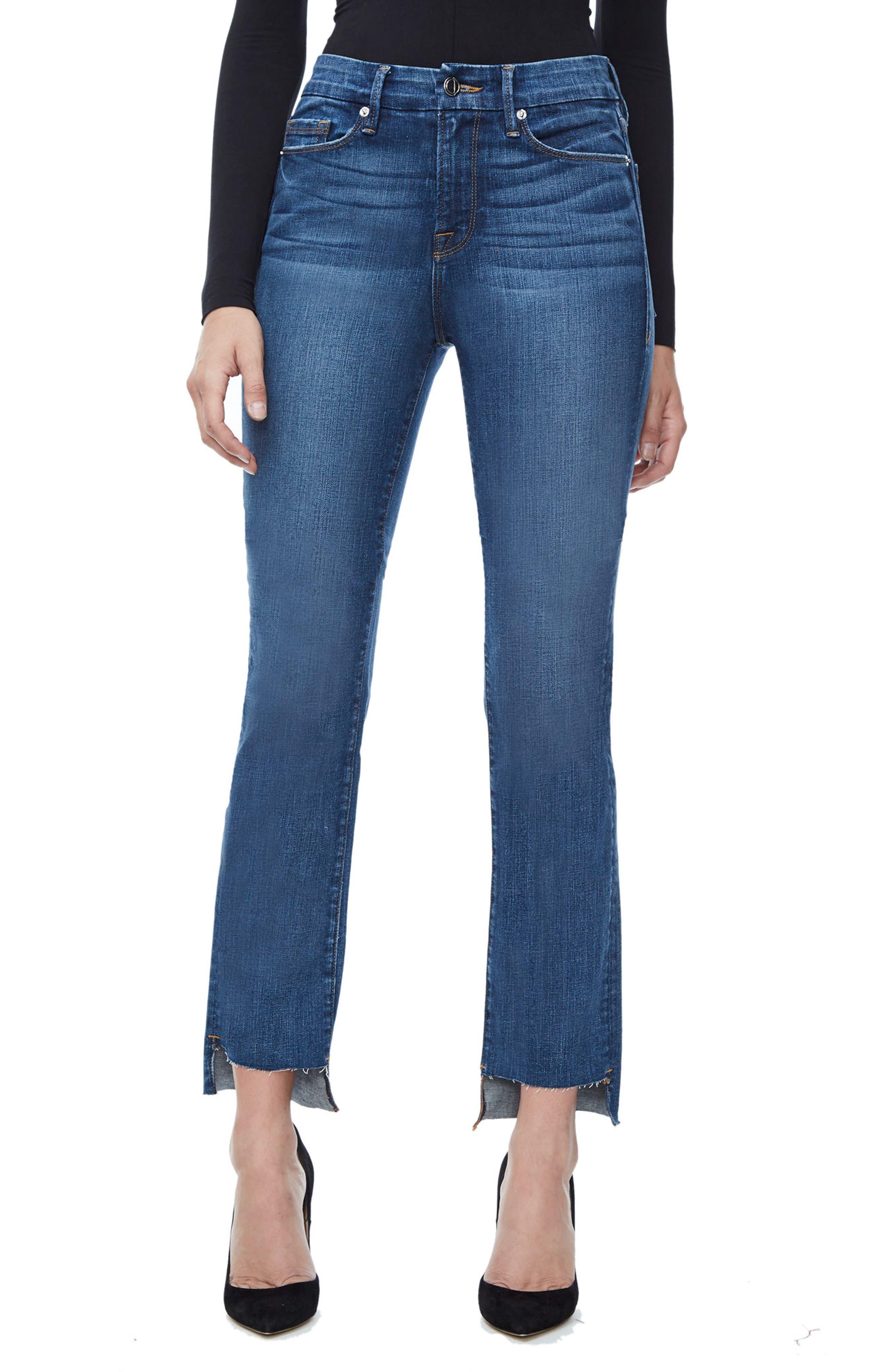 Good Straight Raw Hem High Waist Straight Leg Jeans,                         Main,                         color, Blue 086