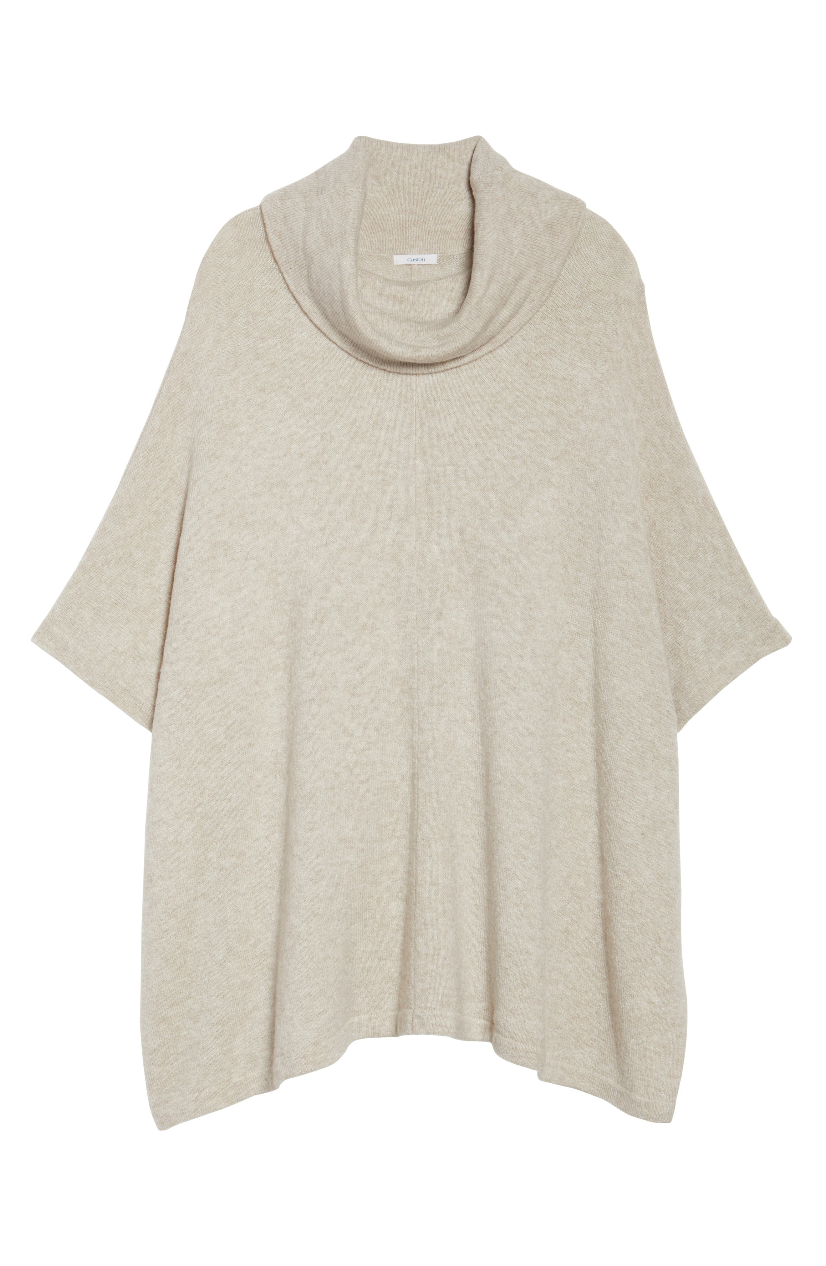 Alternate Image 6  - Caslon® Turtleneck Poncho Sweater (Plus Size)