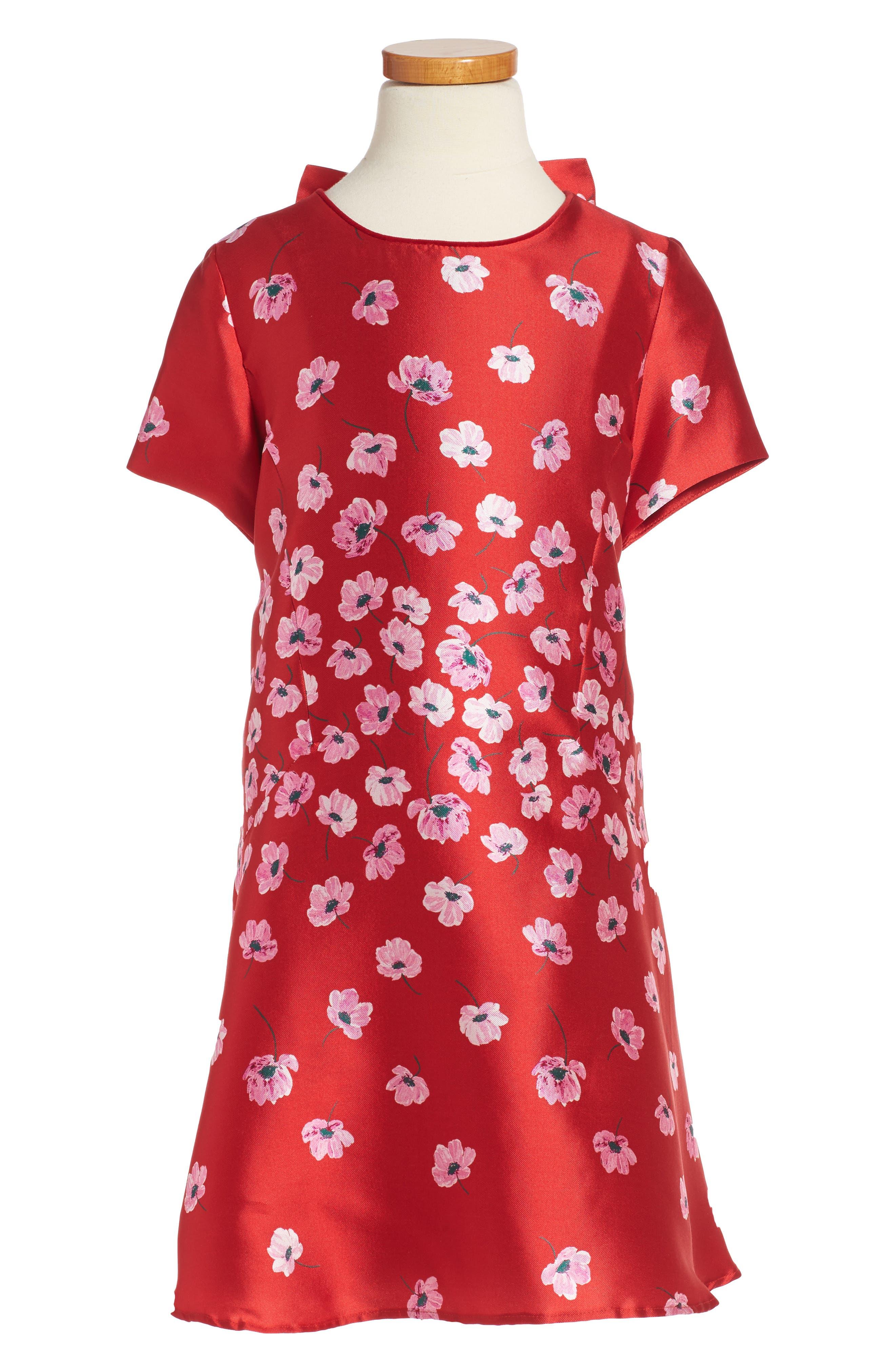 Poppies Mikado Dress,                         Main,                         color, Ruby / Blush