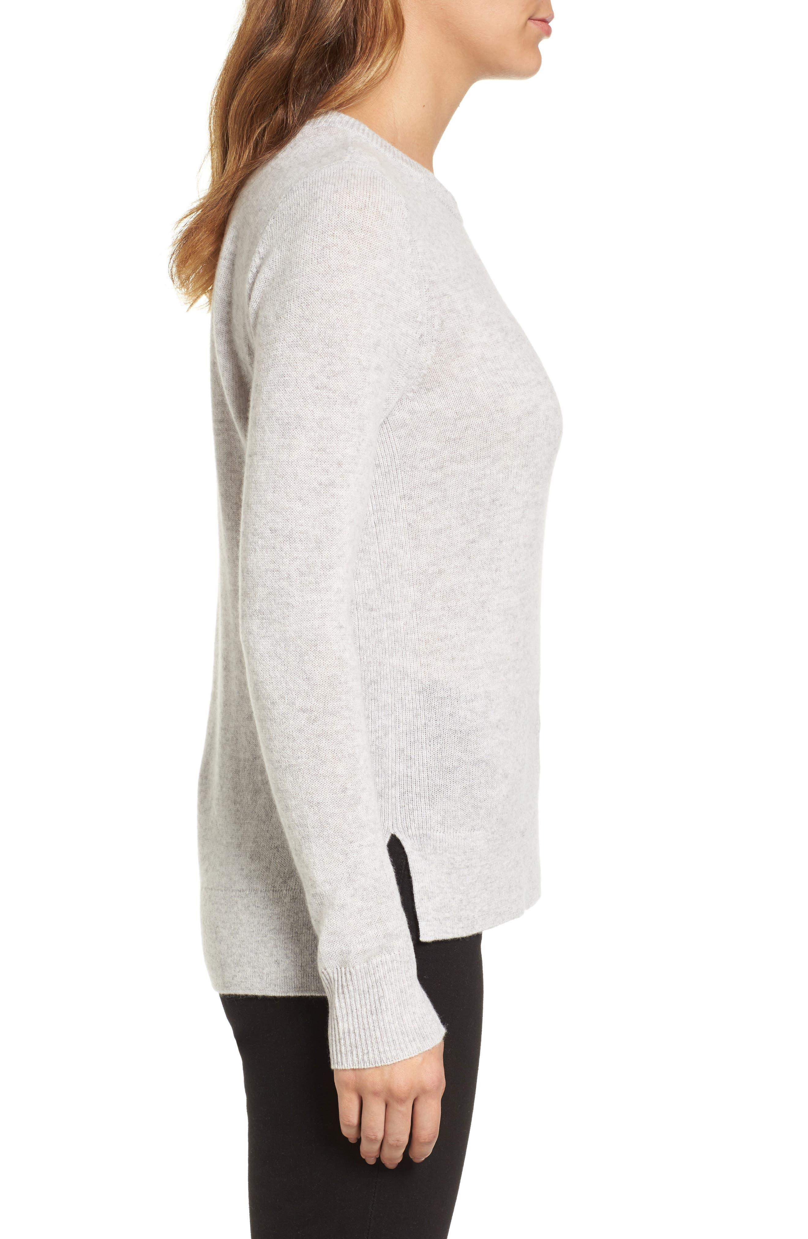 Alternate Image 3  - Halogen® Crewneck Cashmere Sweater (Regular & Petite)