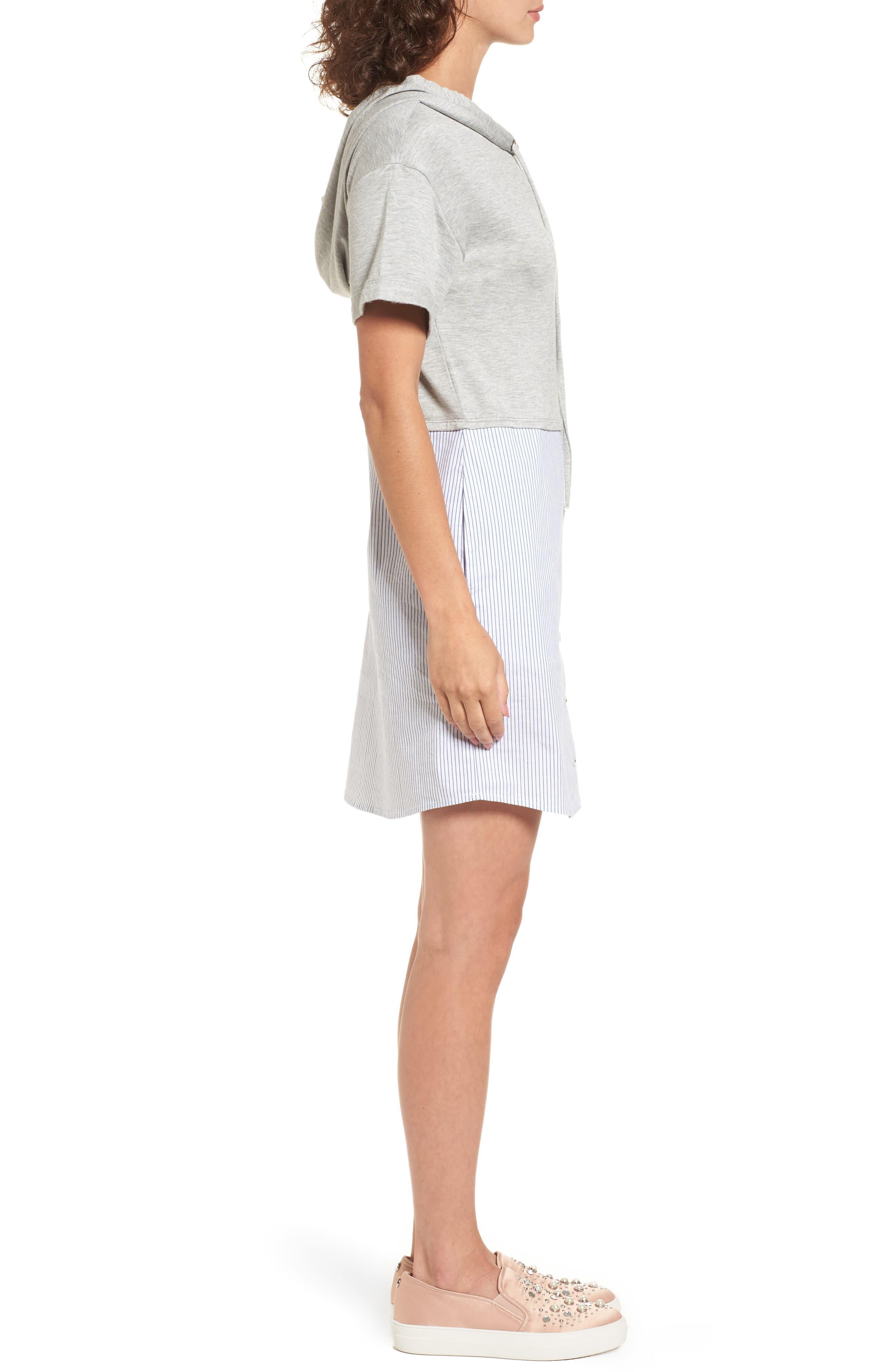 Alternate Image 2  - Socialite Mixed Media Hoodie Dress