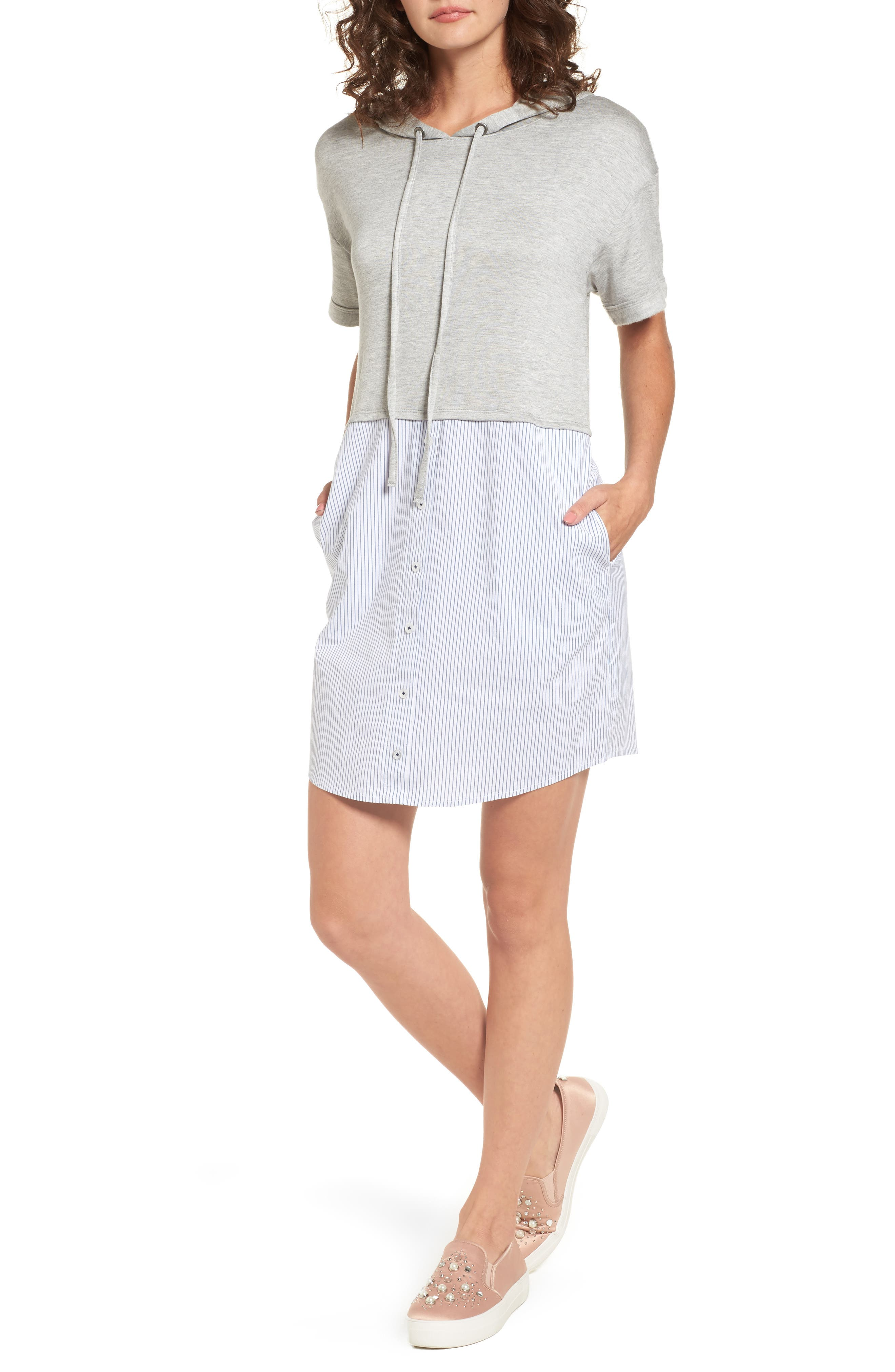 Alternate Image 1 Selected - Socialite Mixed Media Hoodie Dress