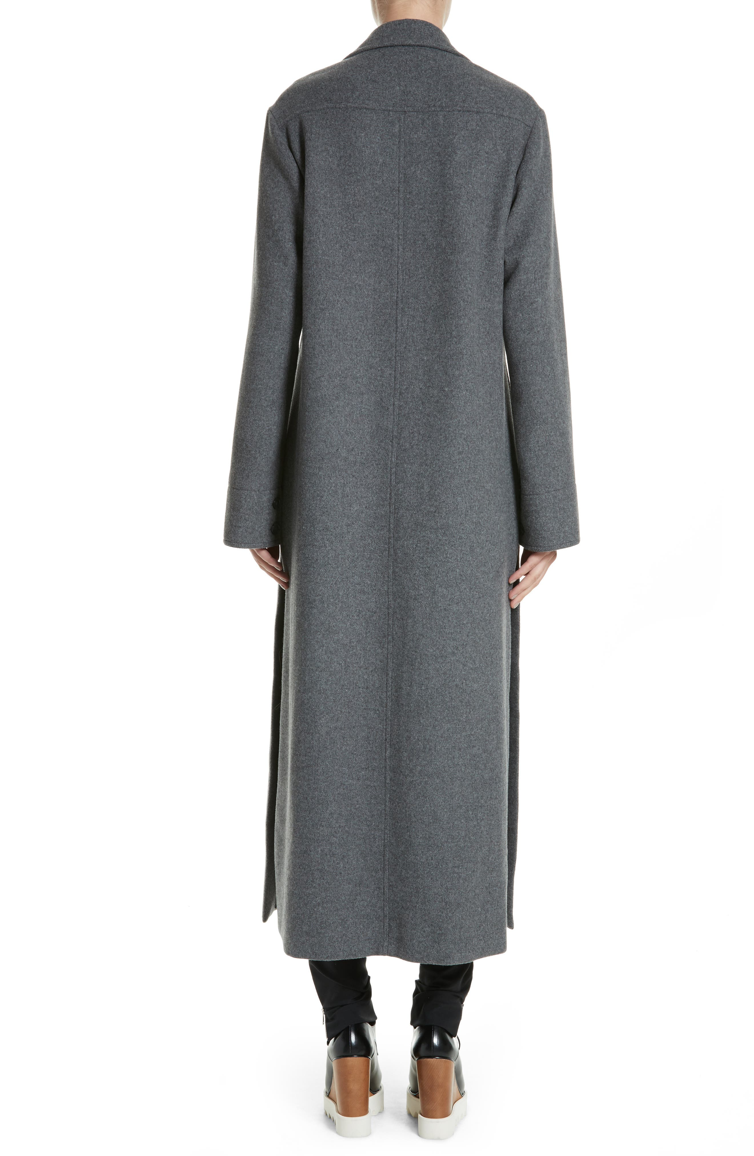 Edwina Long Double Breasted Wool Blend Coat,                             Alternate thumbnail 2, color,                             Graphite