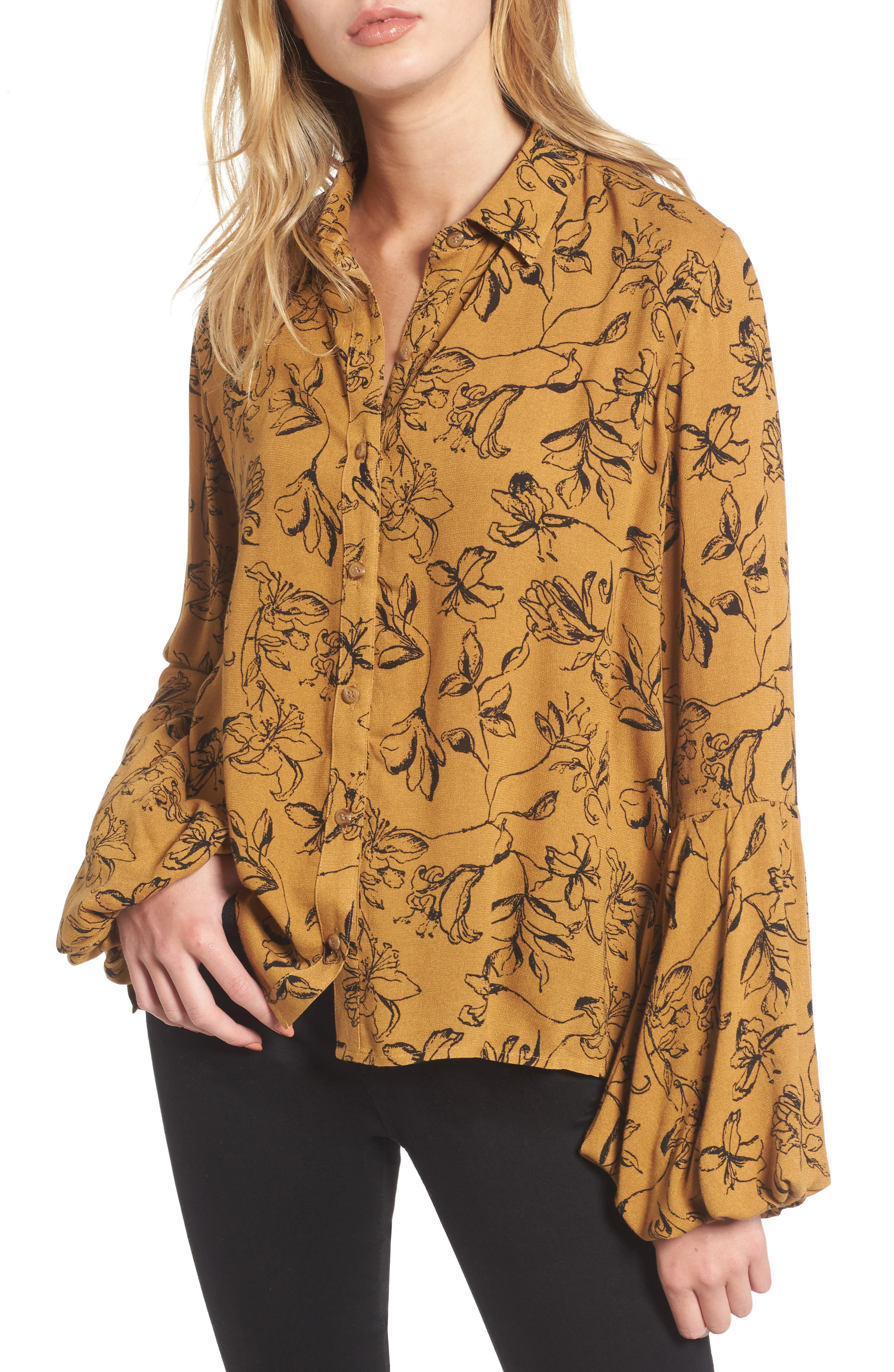 Balloon Sleeve Top,                             Main thumbnail 1, color,                             Brown Cattail Lily Sketch