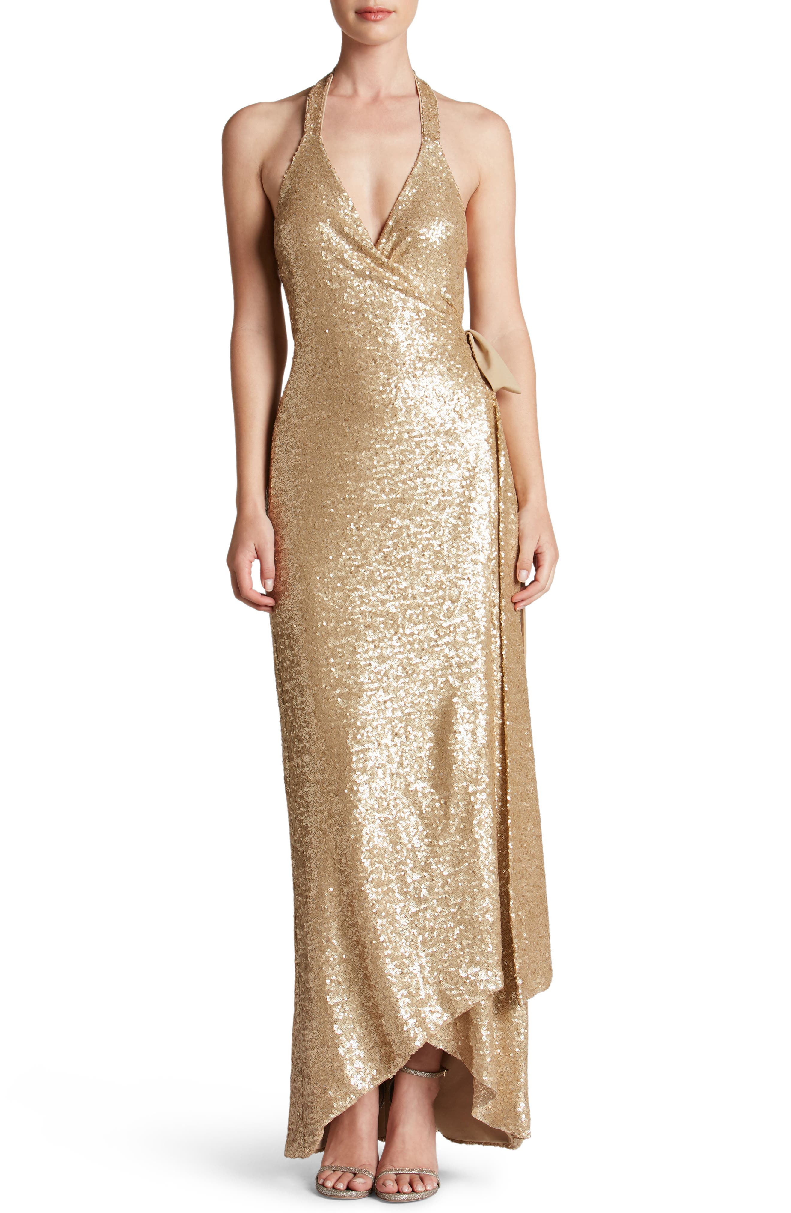 Dress the Population Giselle Sequin Wrap Gown