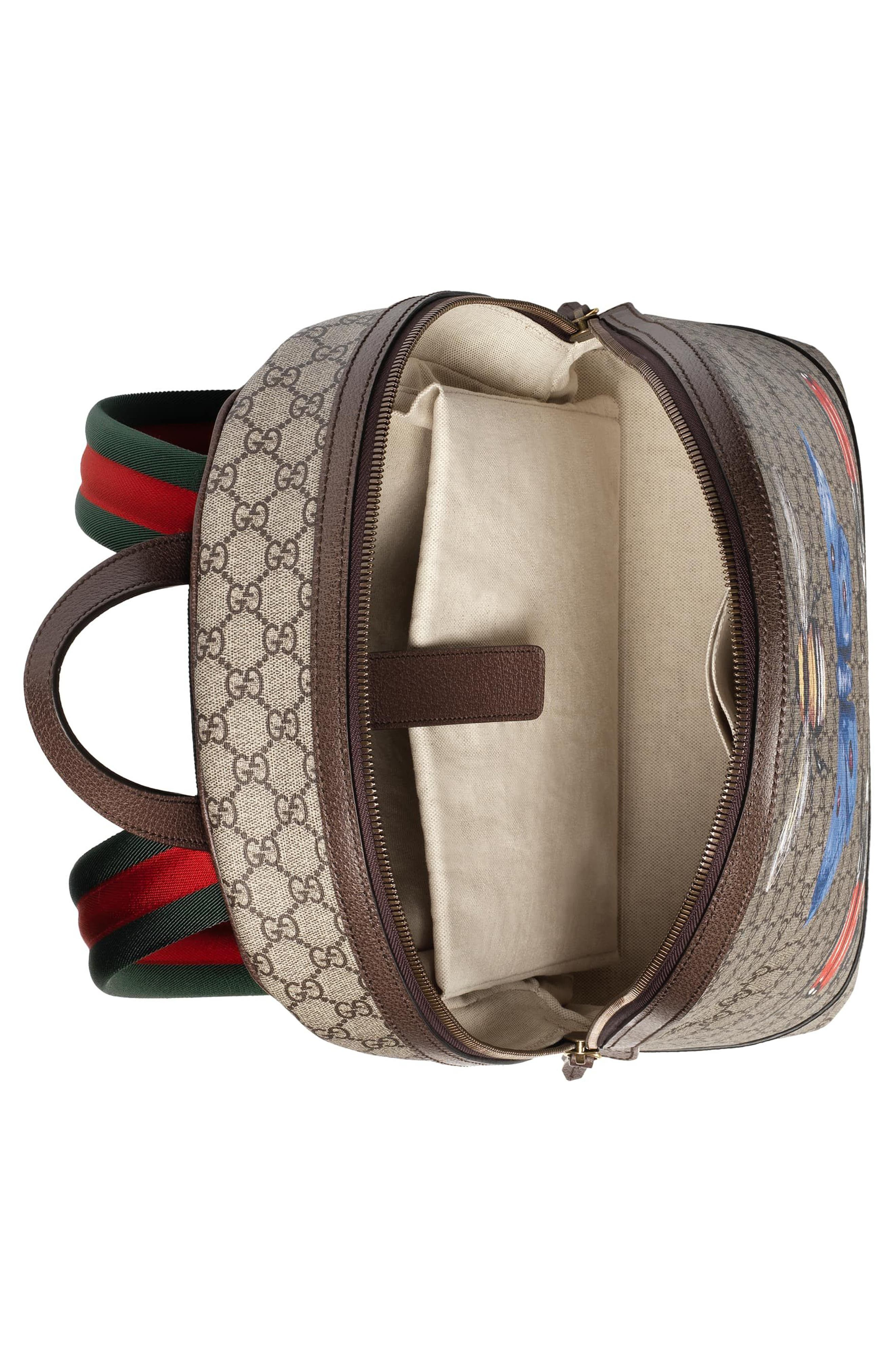 Alternate Image 3  - Gucci Insect Print GG Supreme Canvas Backpack