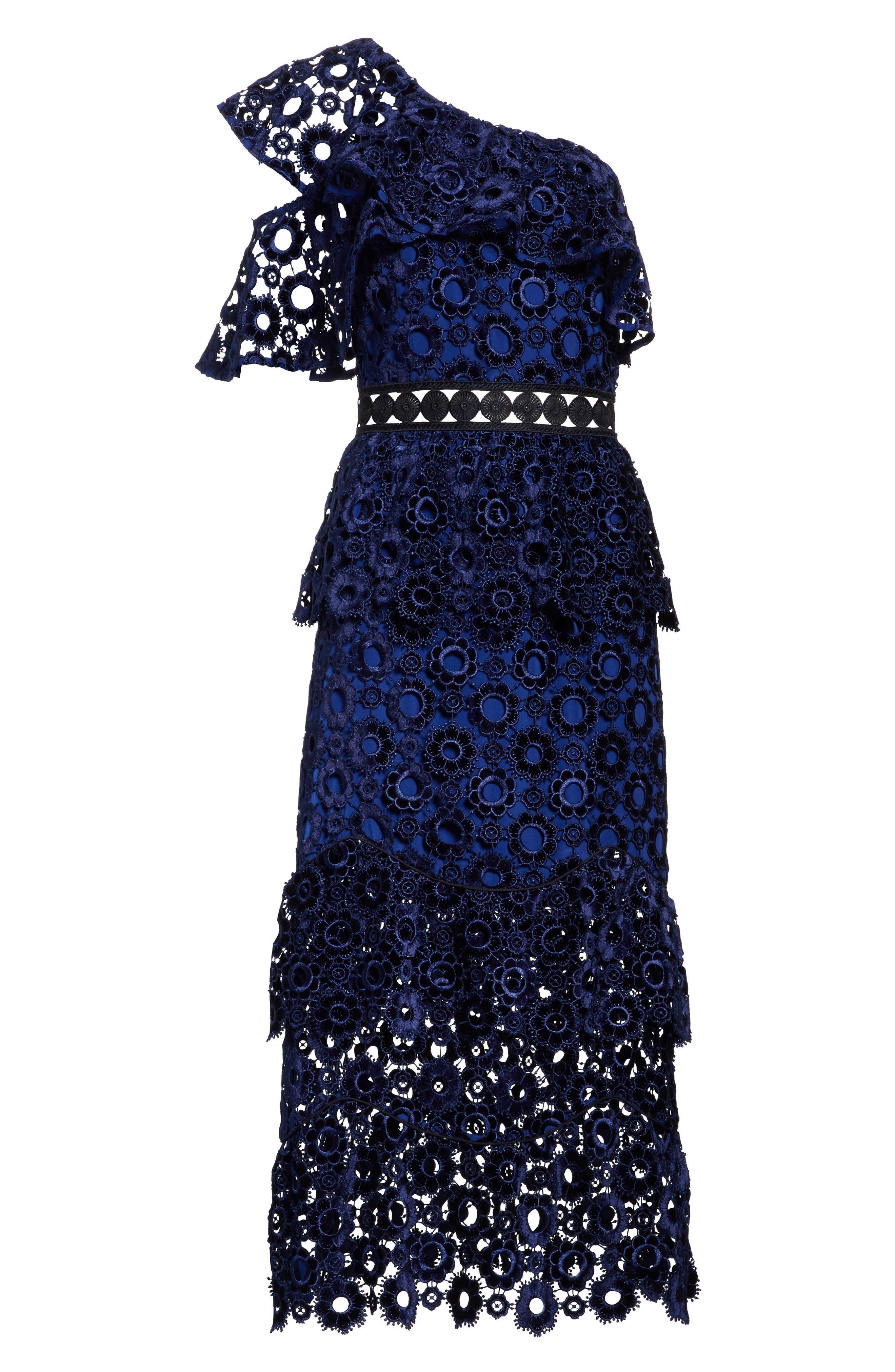 Lace One-Shoulder Midi Dress,                             Alternate thumbnail 6, color,                             Blue