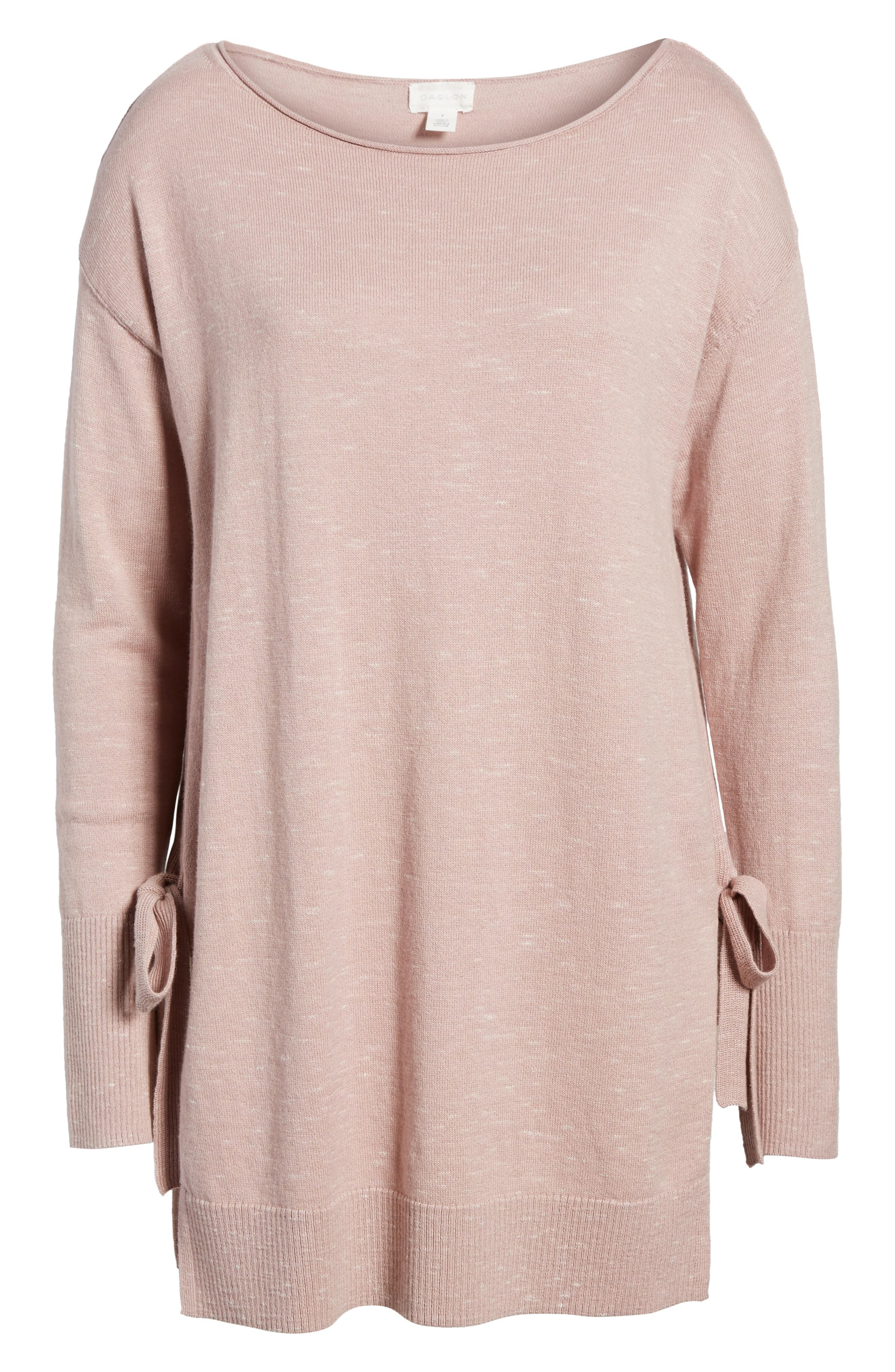 Side Tie Tunic Top,                             Alternate thumbnail 6, color,                             Pink- Ivory Pattern