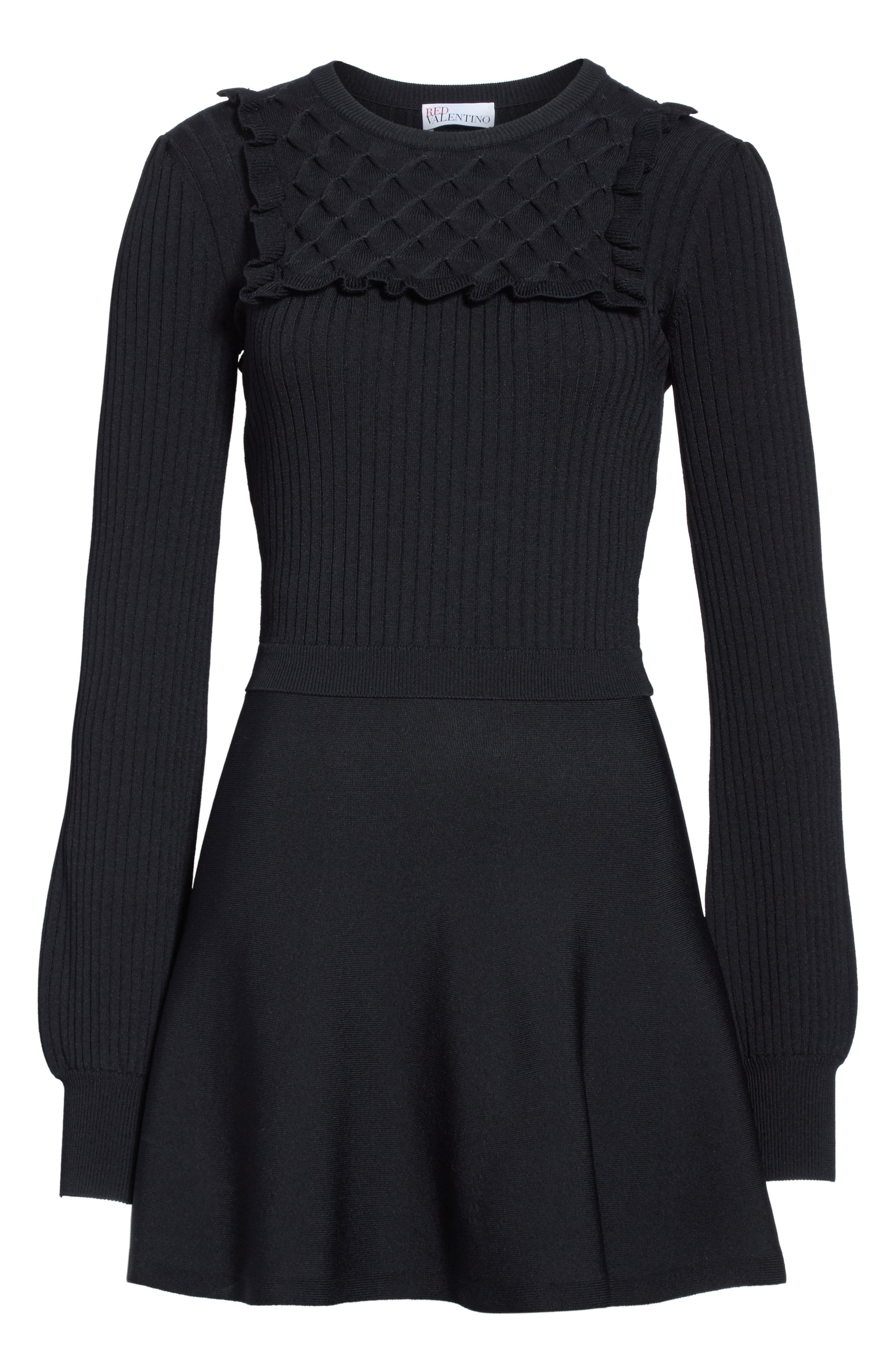 Hand Stitched Stretch Knit Dress,                             Alternate thumbnail 6, color,                             Nero
