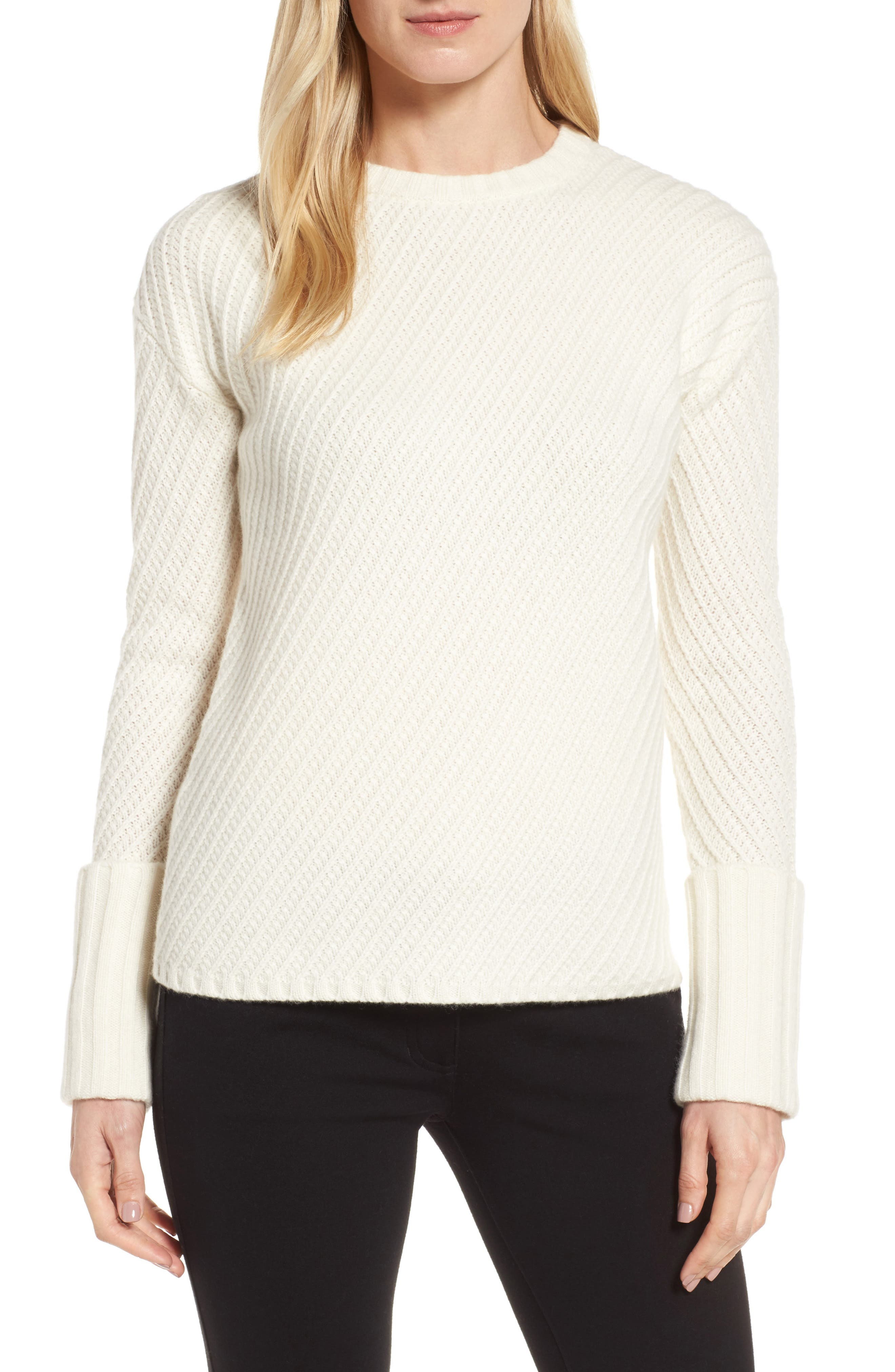 Textured Cashmere Sweater,                             Main thumbnail 1, color,                             Ivory Soft