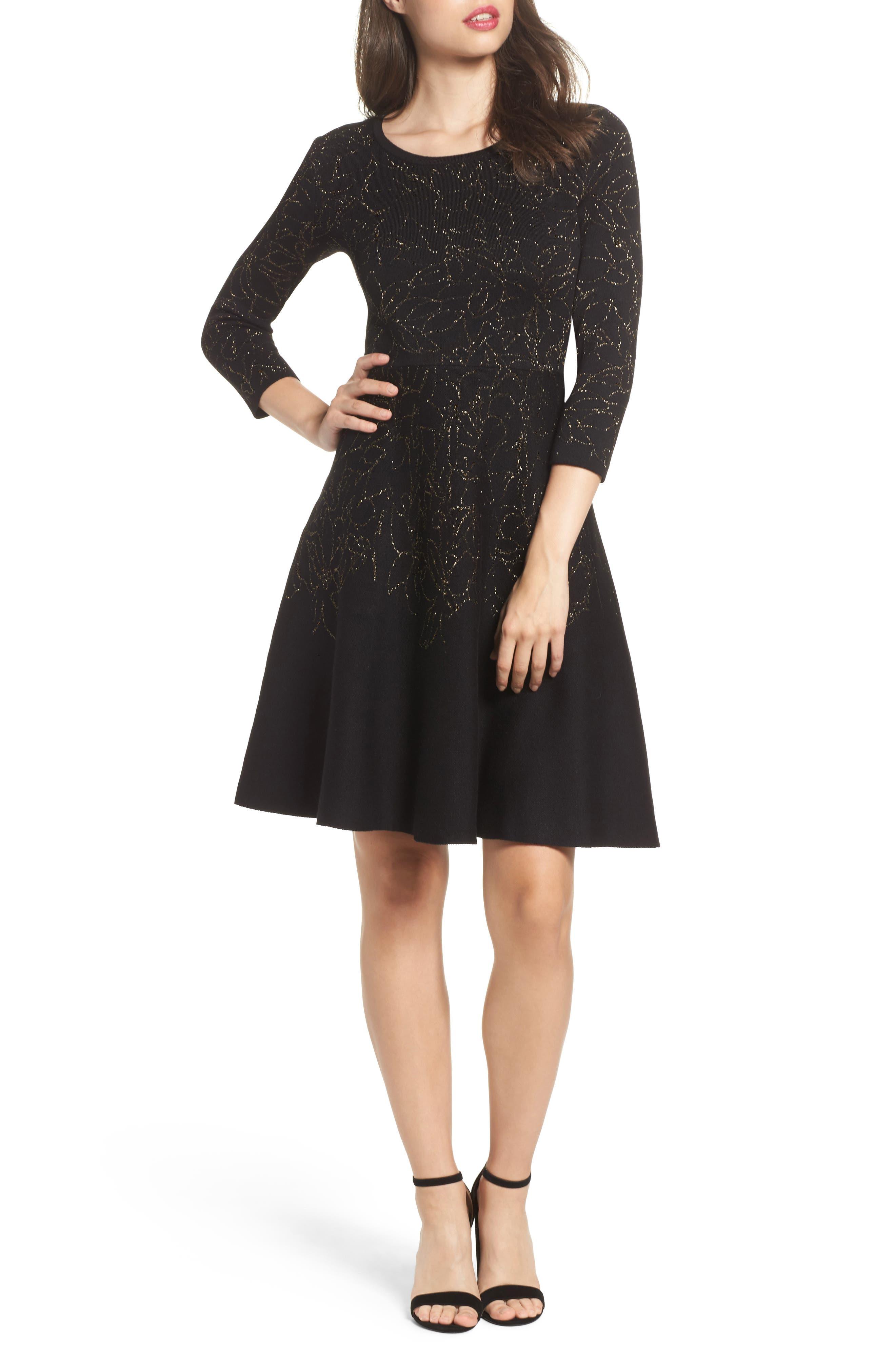 Taylor Dresses Metallic Knit Fit & Flare Dress