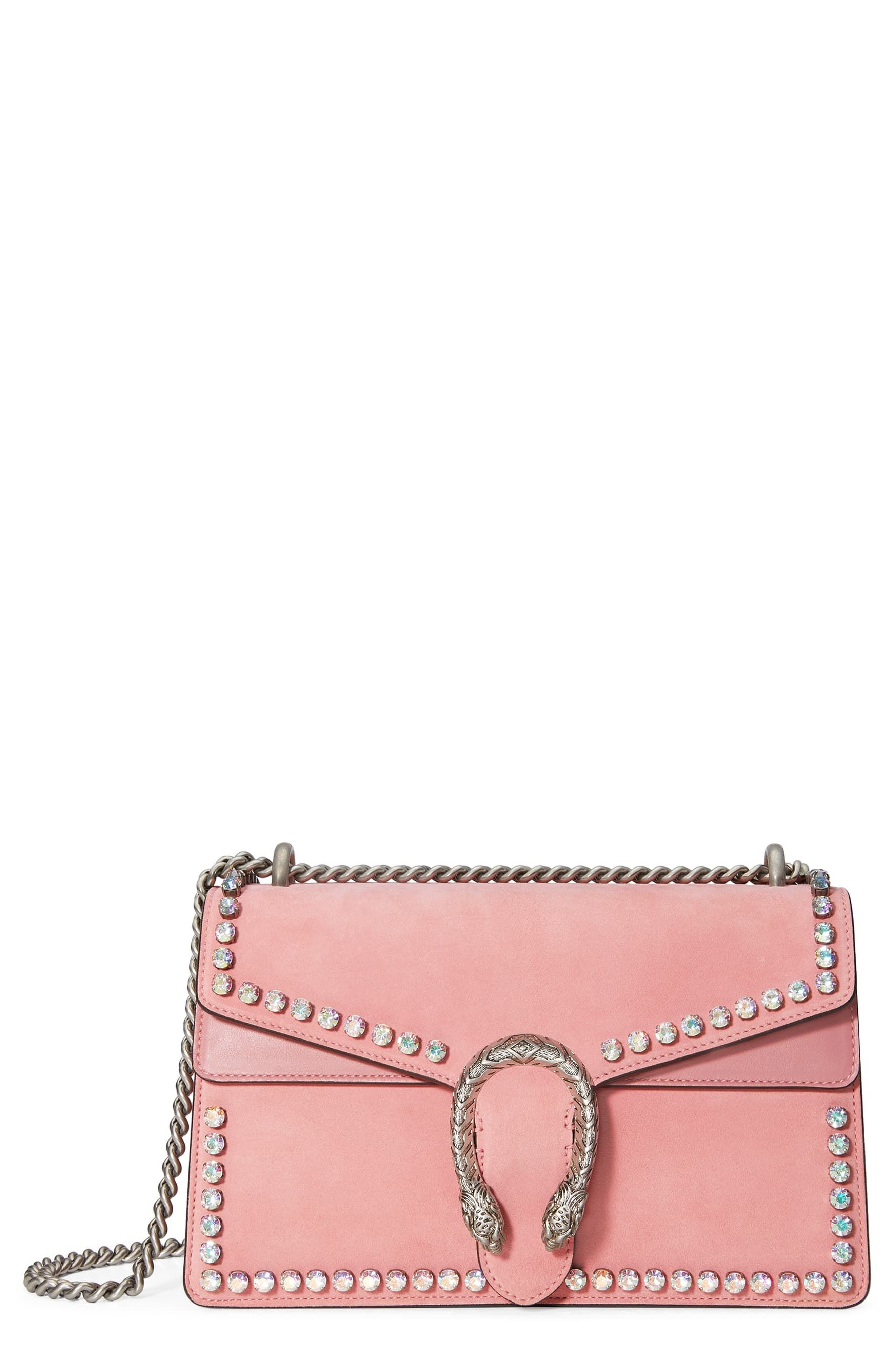 Small Dionysus Crystal Embellished Suede Shoulder Bag,                             Main thumbnail 1, color,                             Pink