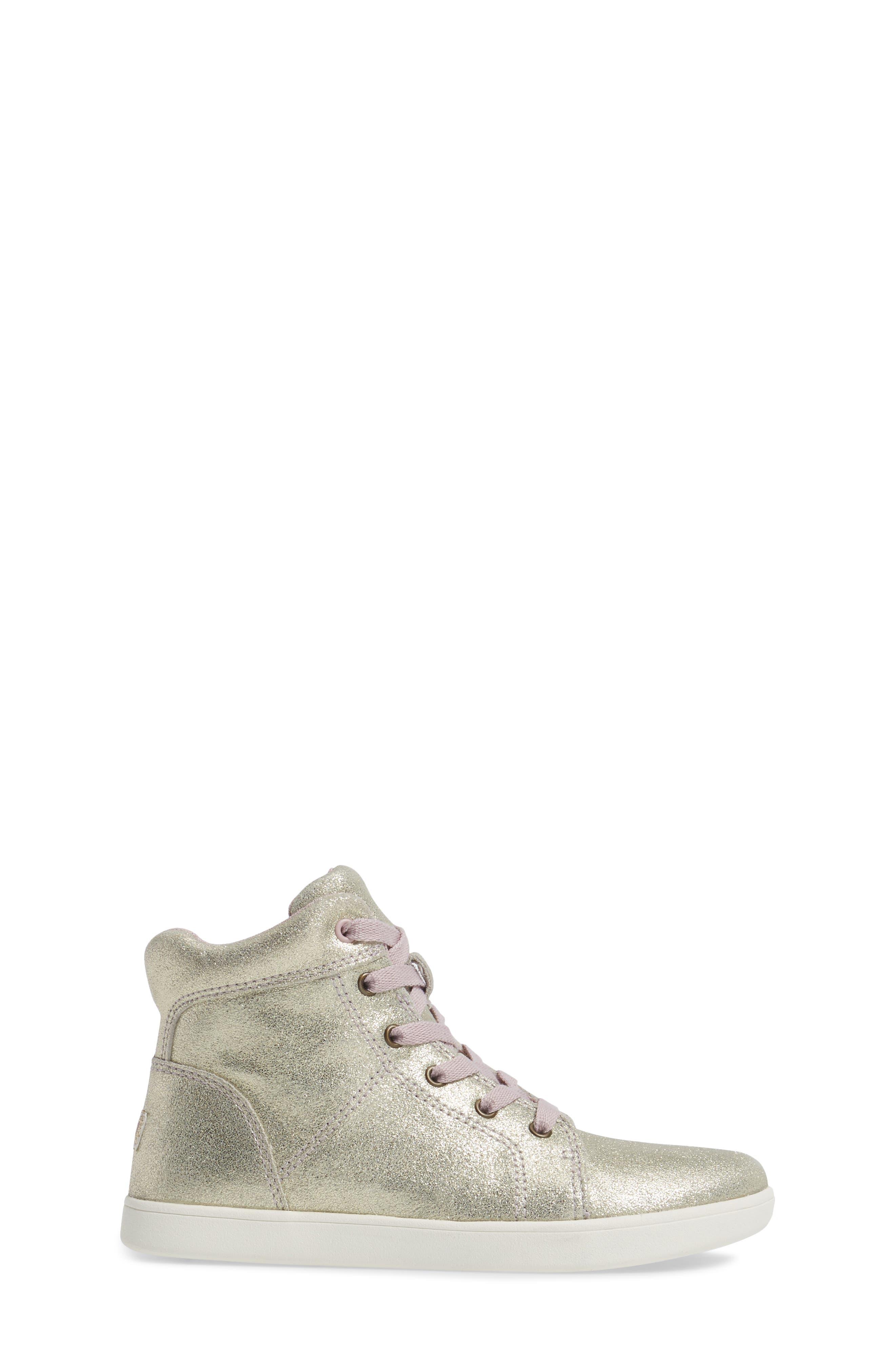 Schyler Metallic High Top Sneaker,                             Alternate thumbnail 3, color,                             Gold