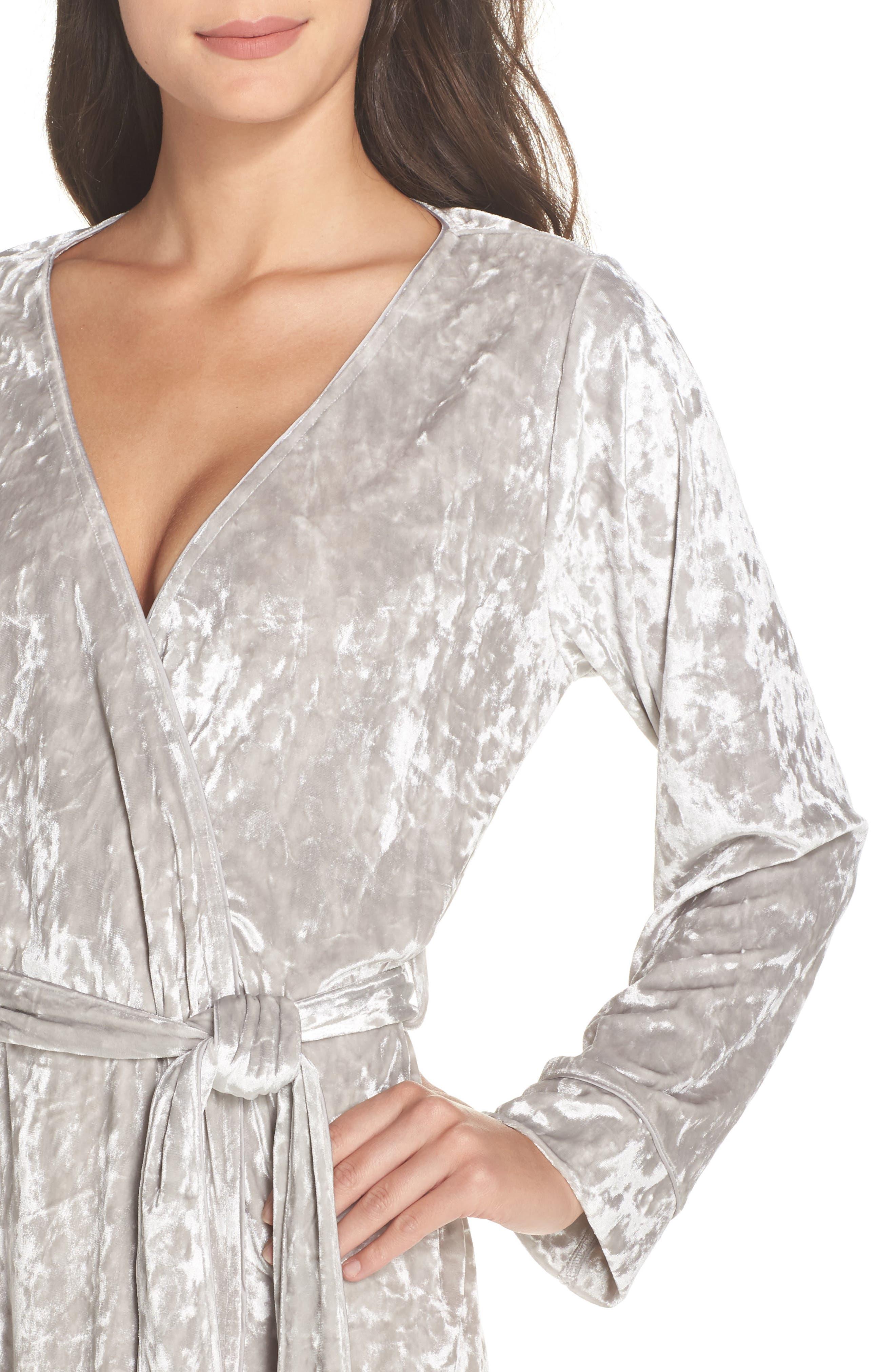 Crushed Velvet Short Robe,                             Alternate thumbnail 5, color,                             Grey Vapor
