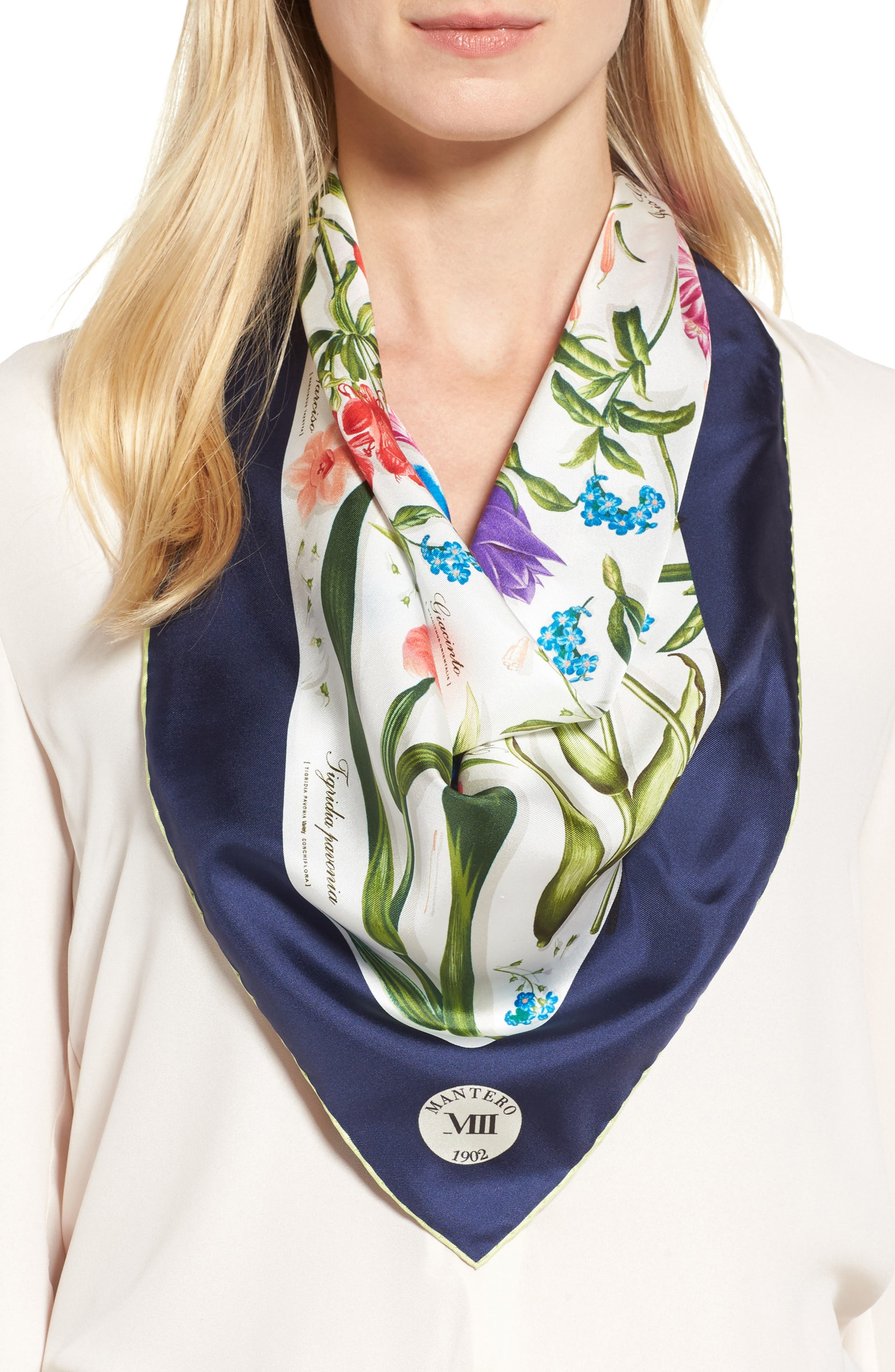 Archivio N.15 Square Silk Scarf,                             Main thumbnail 1, color,                             Ivory