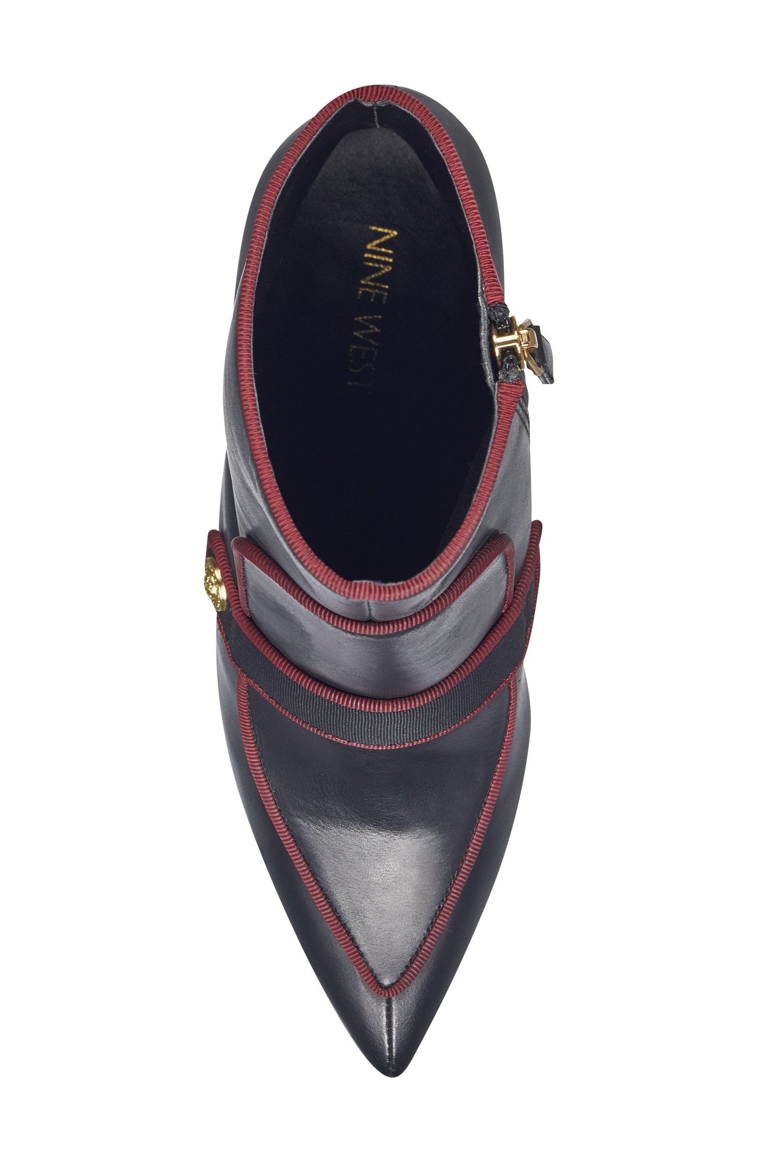 Westham Pointy Toe Bootie,                             Alternate thumbnail 5, color,                             Black/ Wine Leather