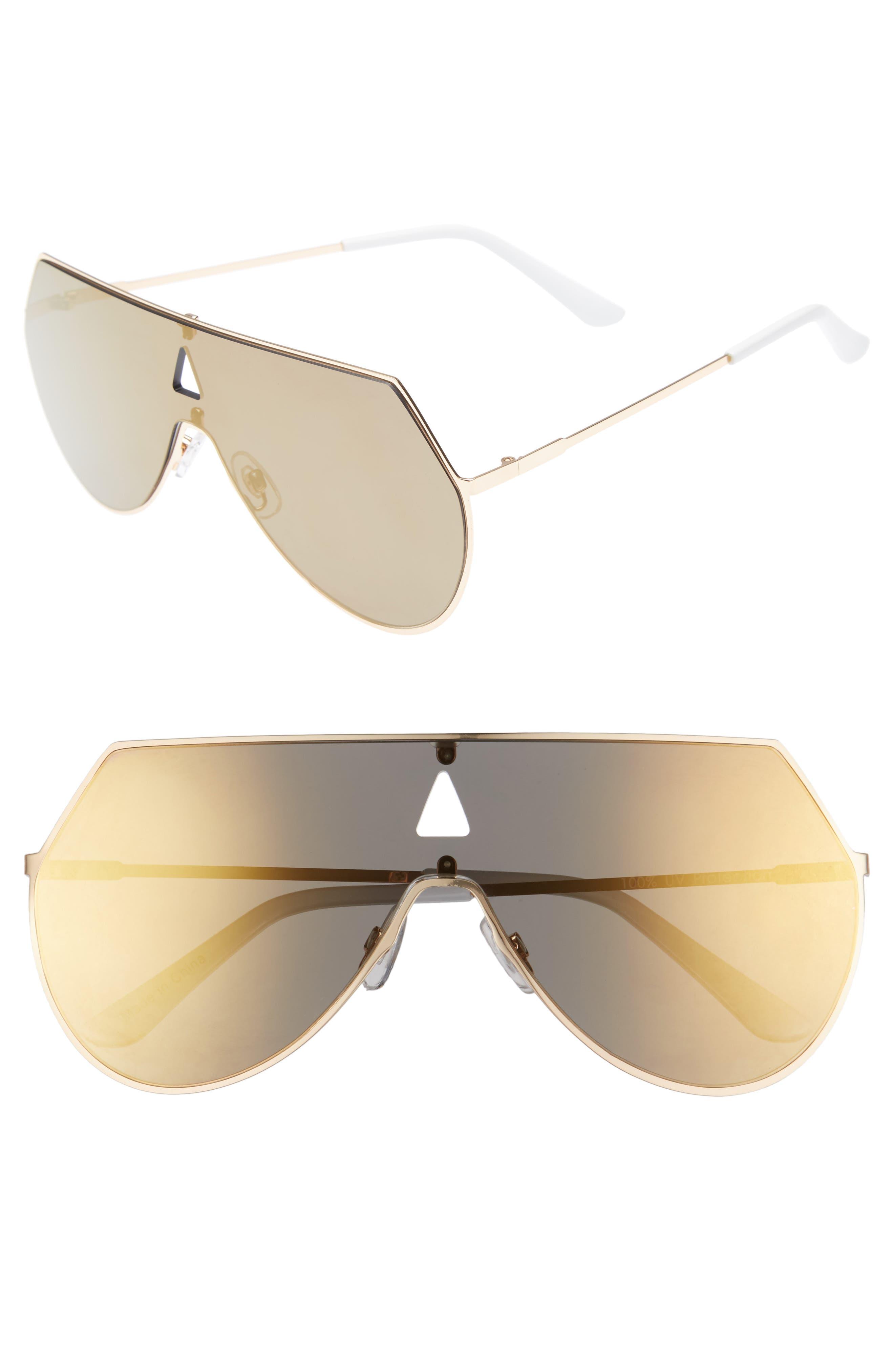 60mm Flat Lens Aviator Sunglasses,                         Main,                         color, Gold